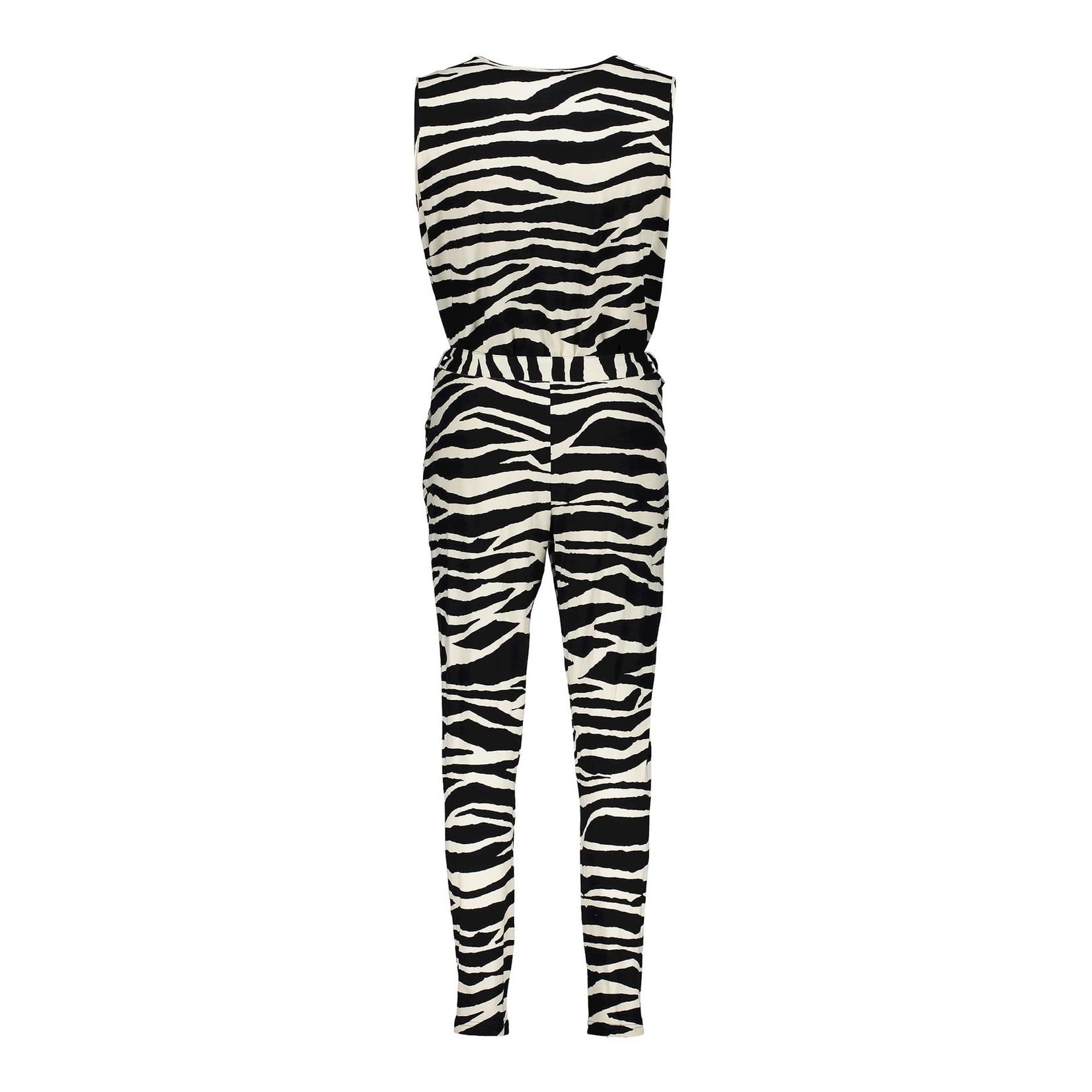 Geisha Geisha Jumpsuit zebra sleeveless 11103-20 black/sand combi