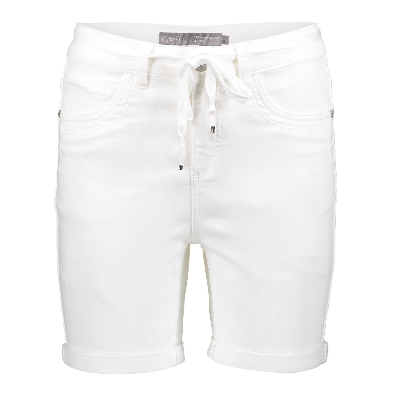 Geisha Geisha shorts with lace at waist white denim 11025-10