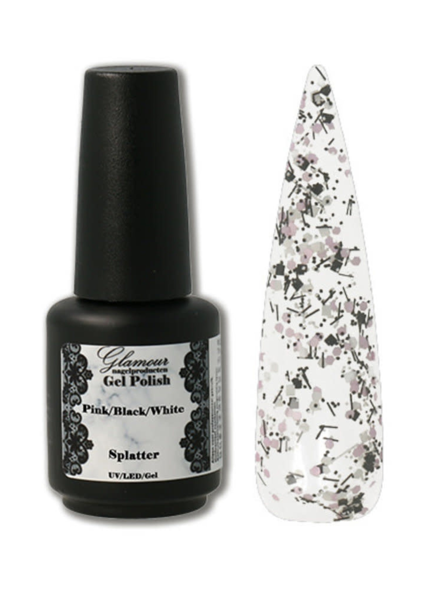 Glamour Gel on Splatter Pink Black White
