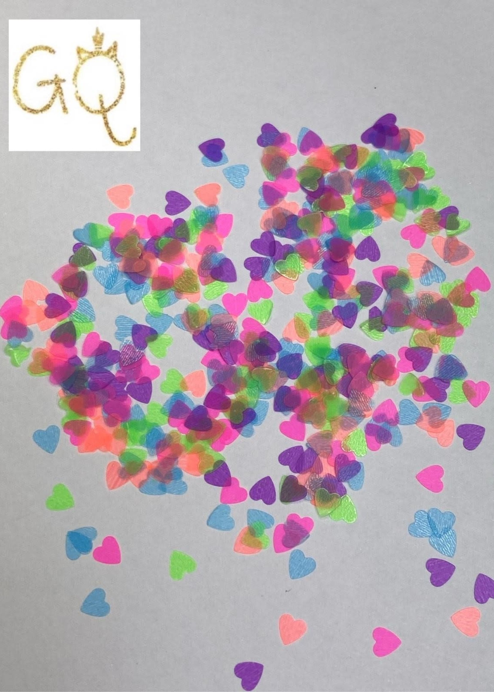 Glitter Queen Glass Neon Hearts
