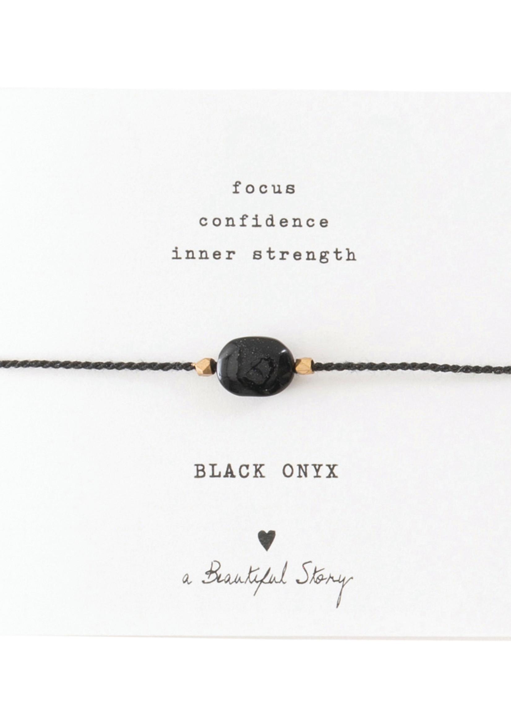 Gemstone Card Black Onyx Gold Bracelet