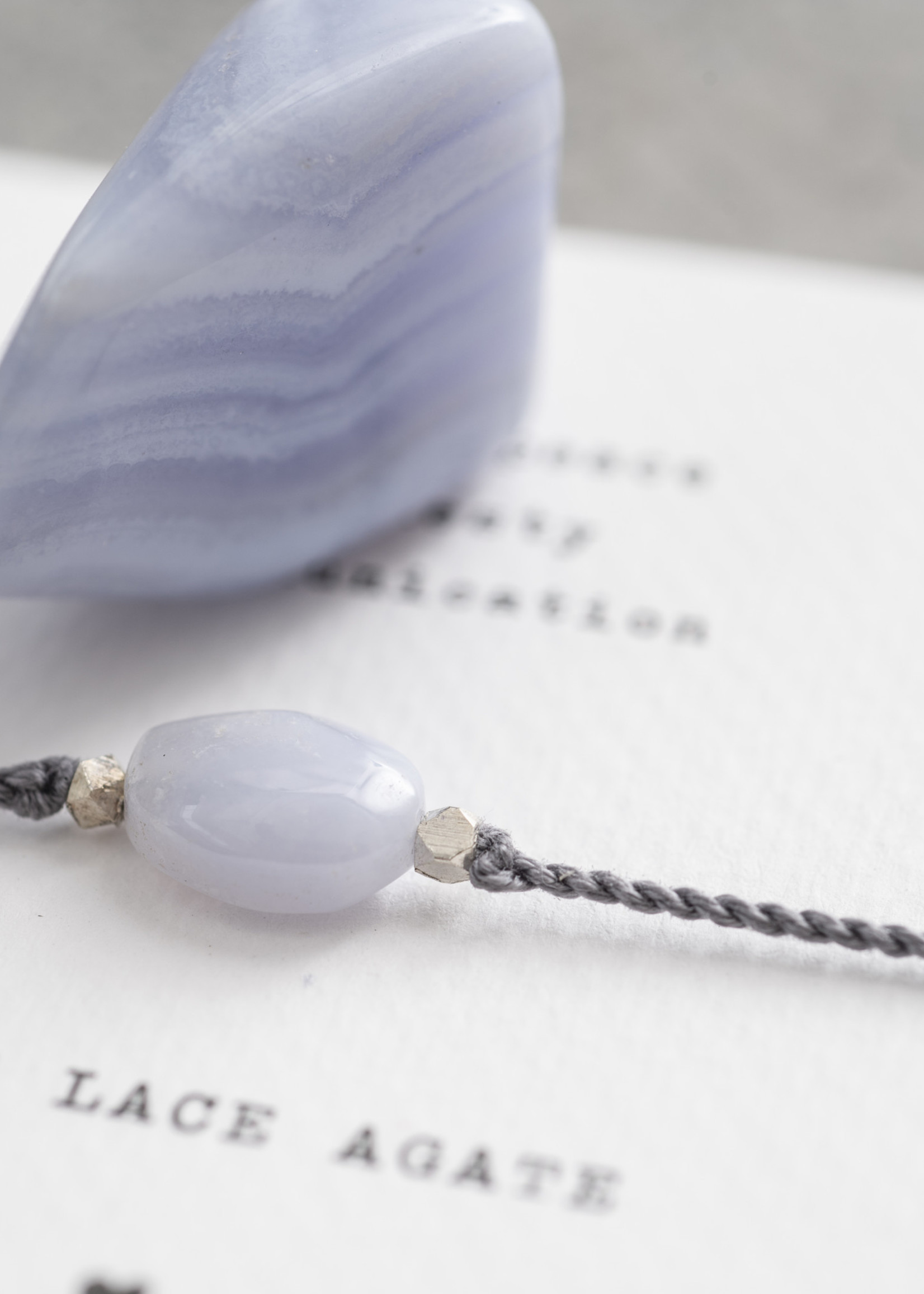 Gemstone Card Blue Lace Agate Silver Bracelet