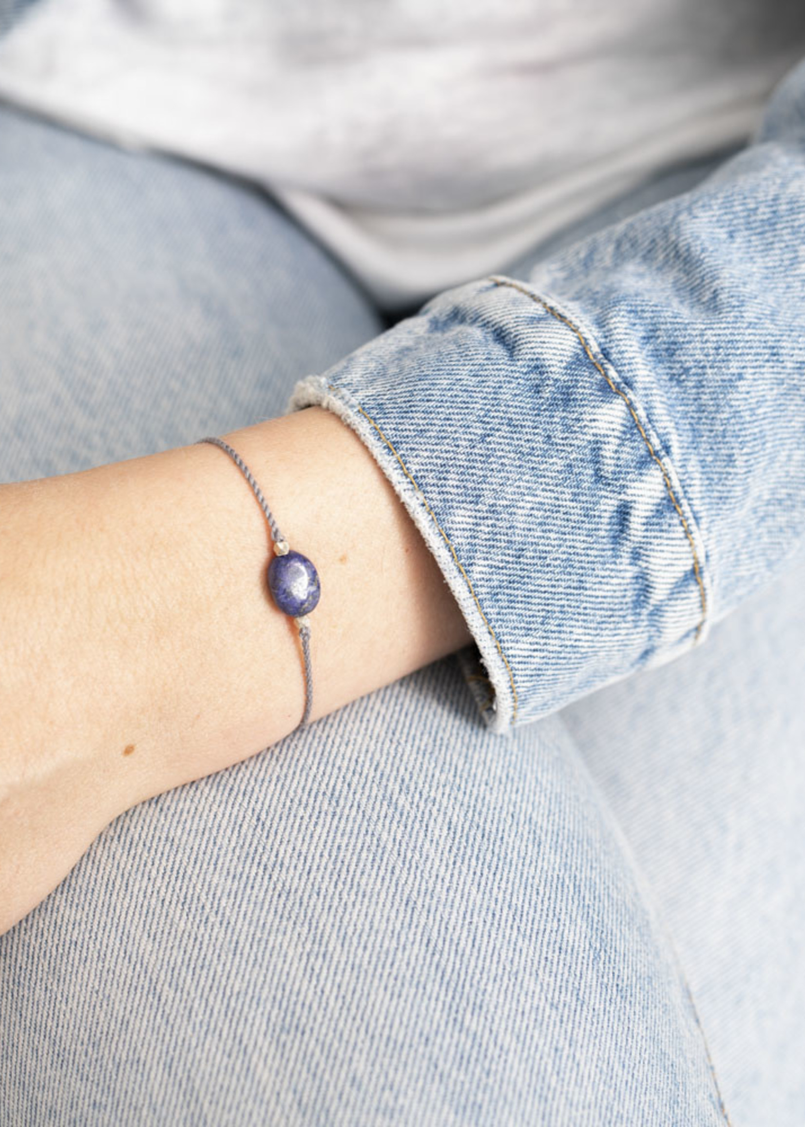 Gemstone Card Lapis Lazuli Silver Bracelet