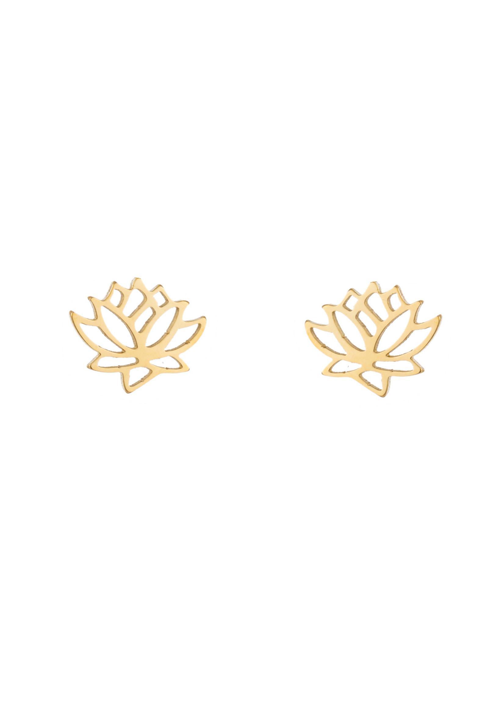 Oorbel goud lotusbloem E1414-1