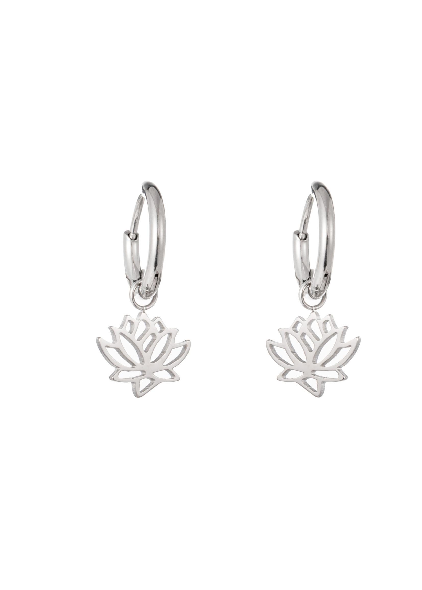 Oorbel zilver hanger lotusbloem E1414-2