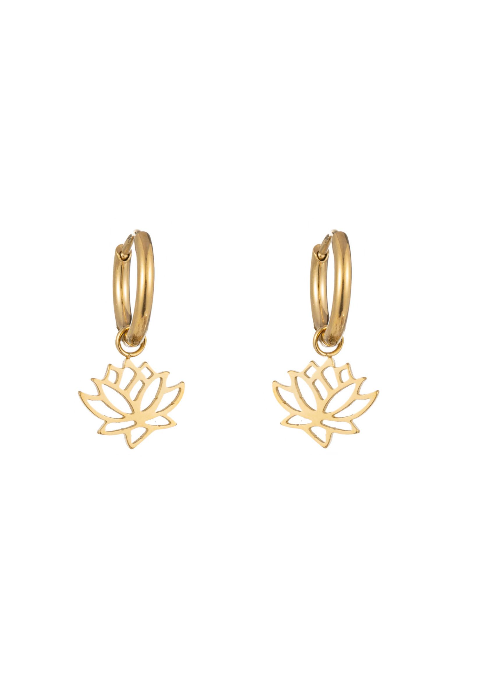 Oorbel goud hanger lotusbloem E1415-1