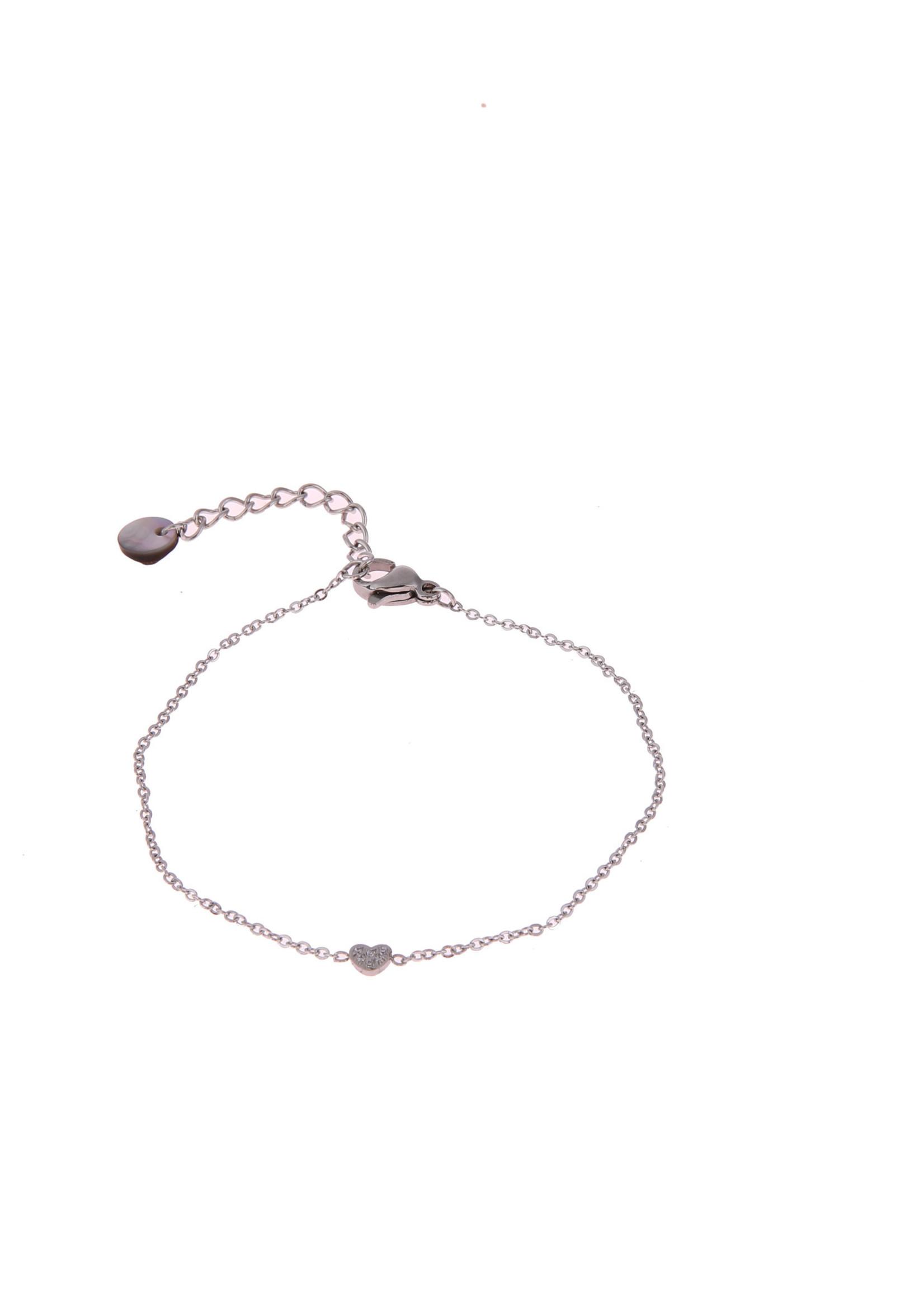 Armband zilver hartje met crystal steentje B0773-1