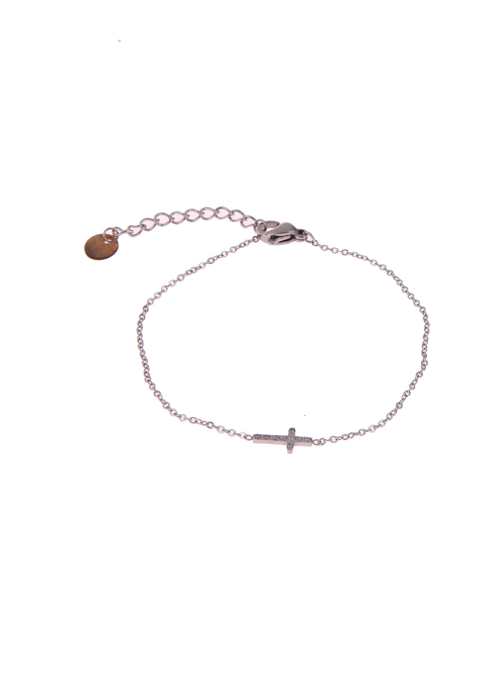 Armband zilver kruisje met crystal steentje B0779-1