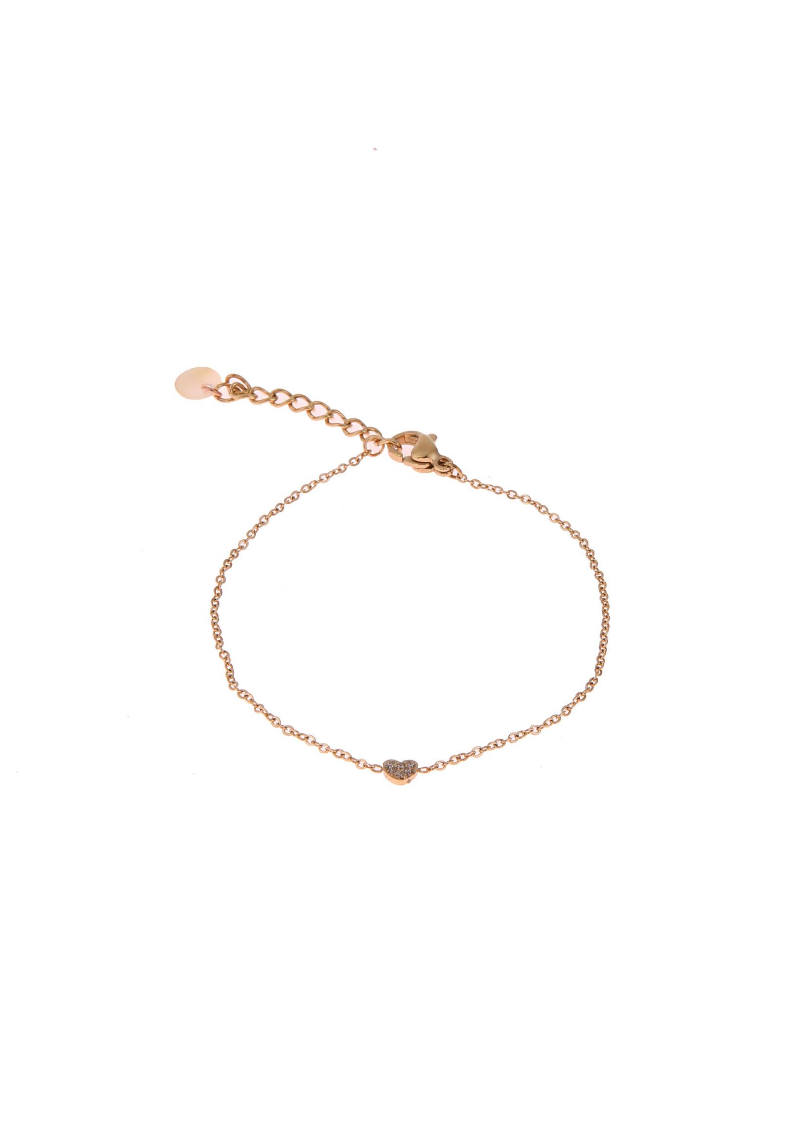 Armband goud hartje met crystal steentje B0773-2