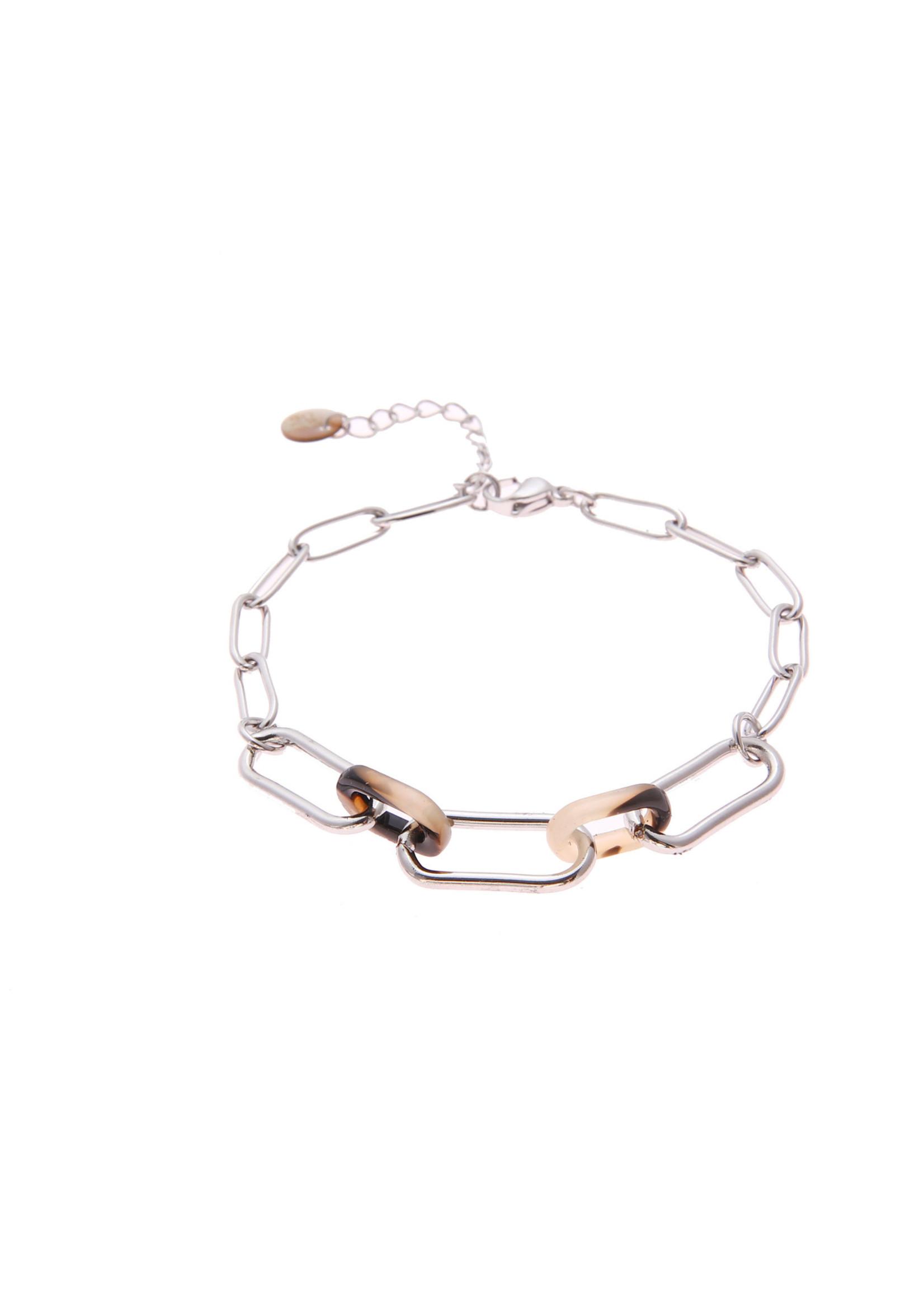 Armband zilver en gekleurde schakel B0806-1