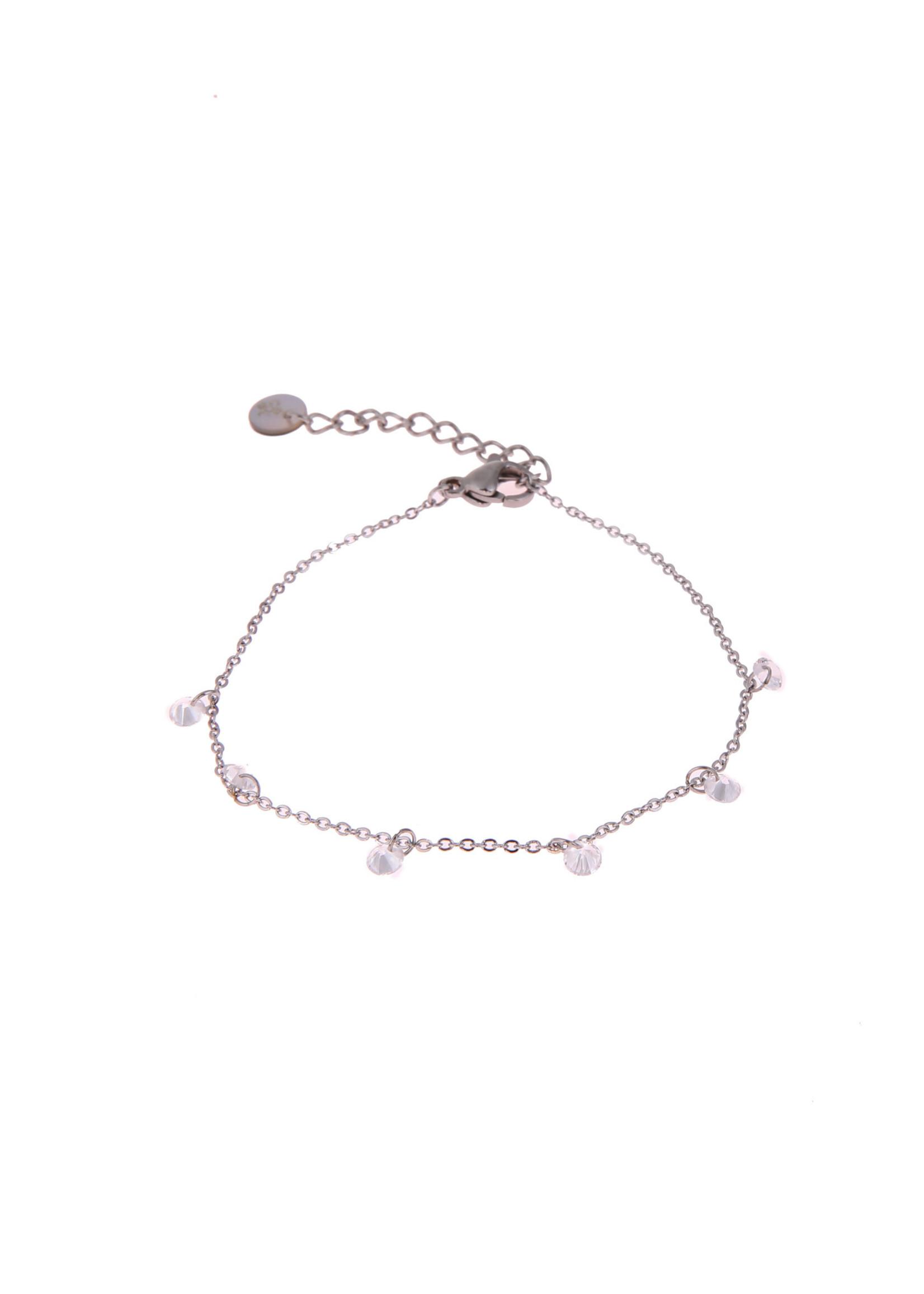 Armband zilver met crystal steentjes B0878-1