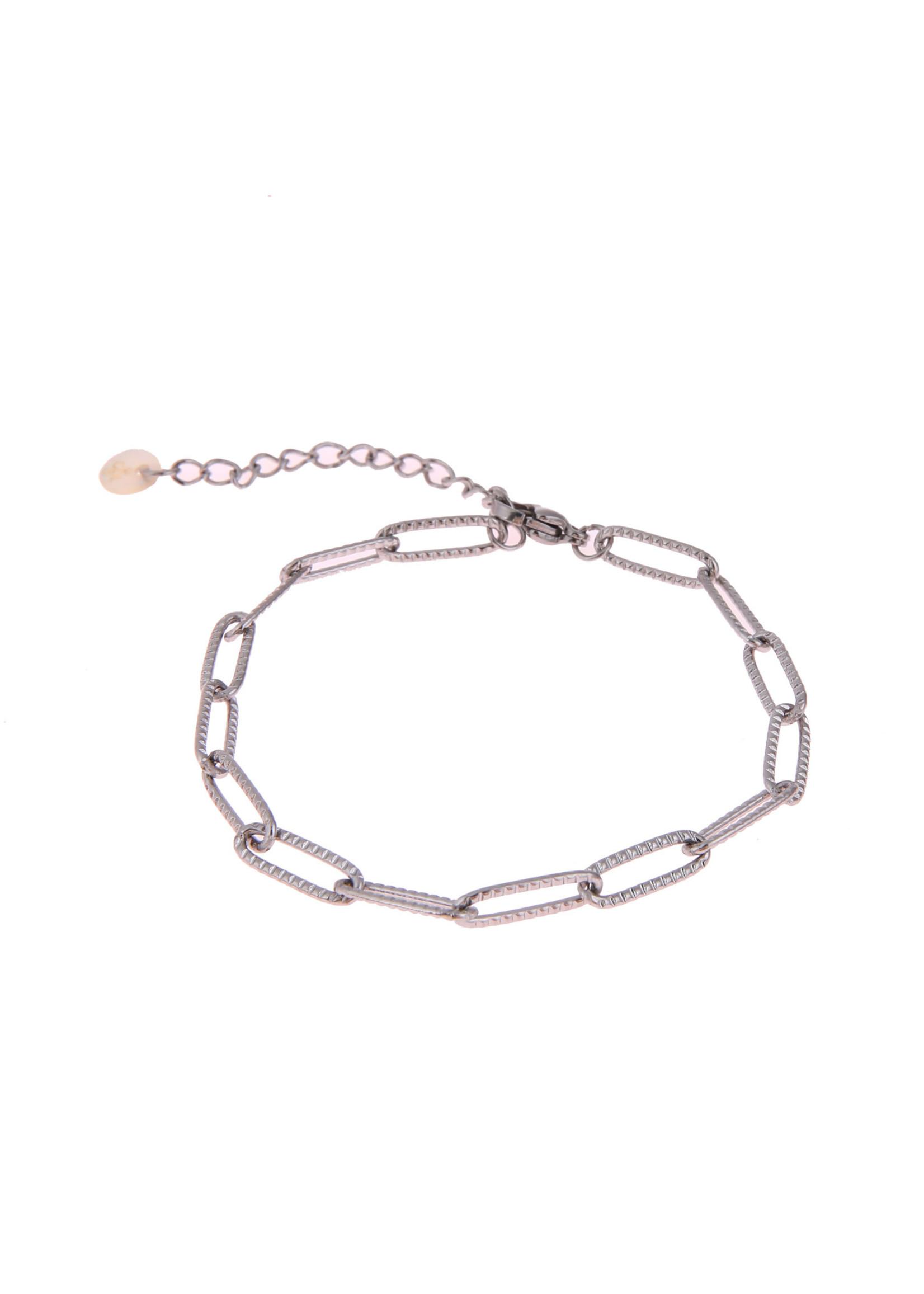 Armband zilver ovale schakel gewerkt B0887-1