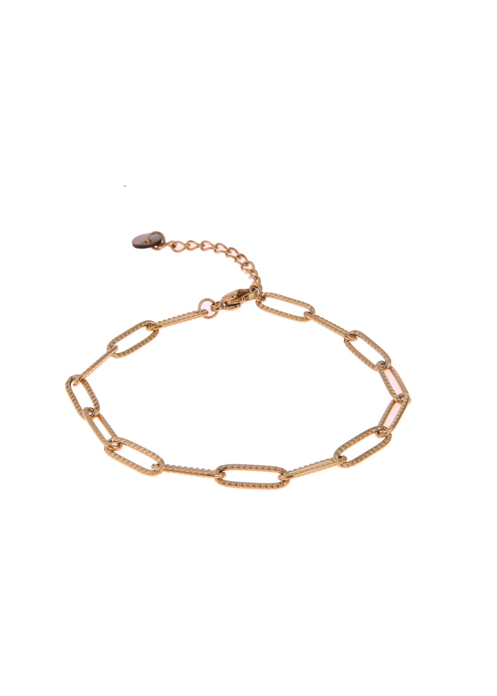 Armband goud ovale schakel gewerkt B0887-2