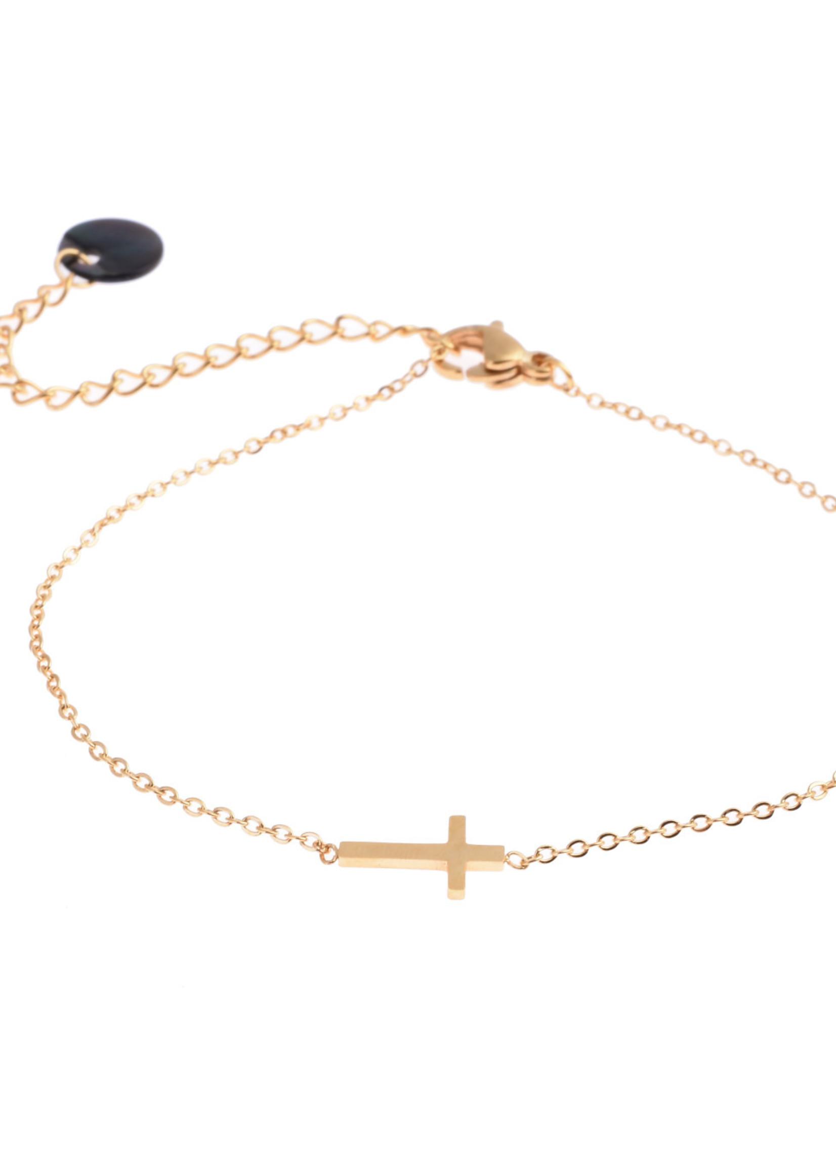 Armband goud kruisje B8807-2
