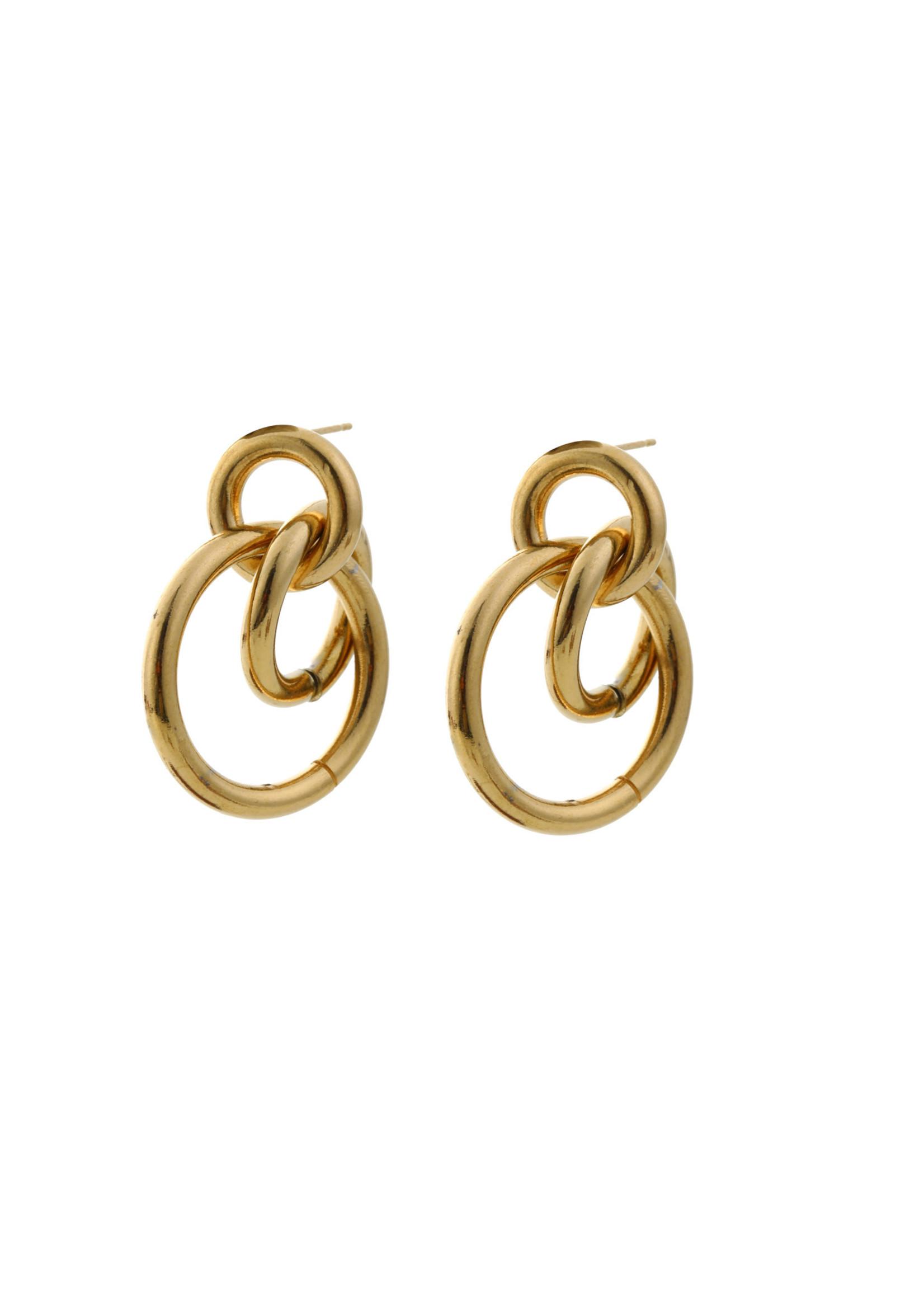 Oorbel goud 3 ringen E0498-2