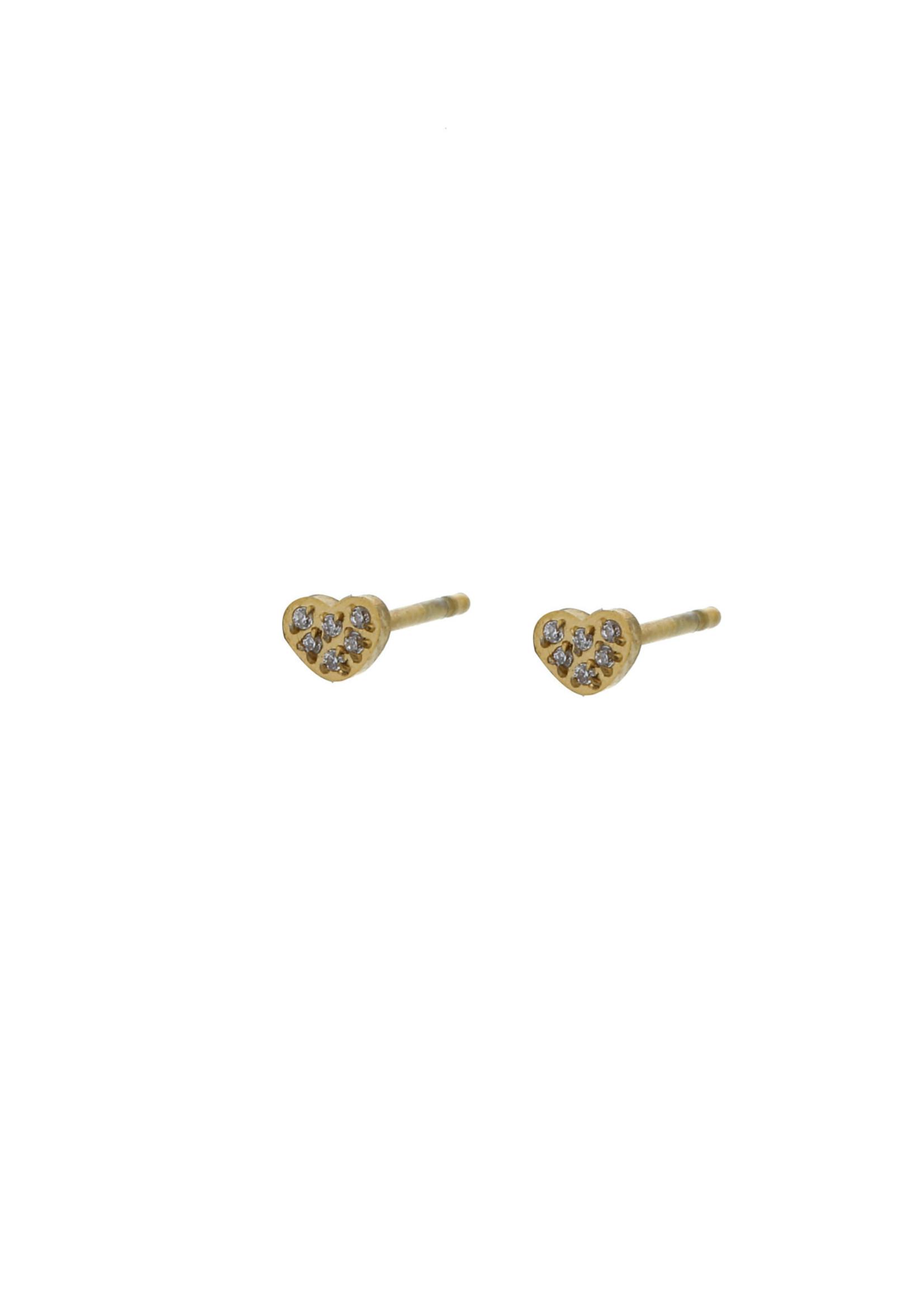 Oorbel goud hartje met steentjes E0773-2
