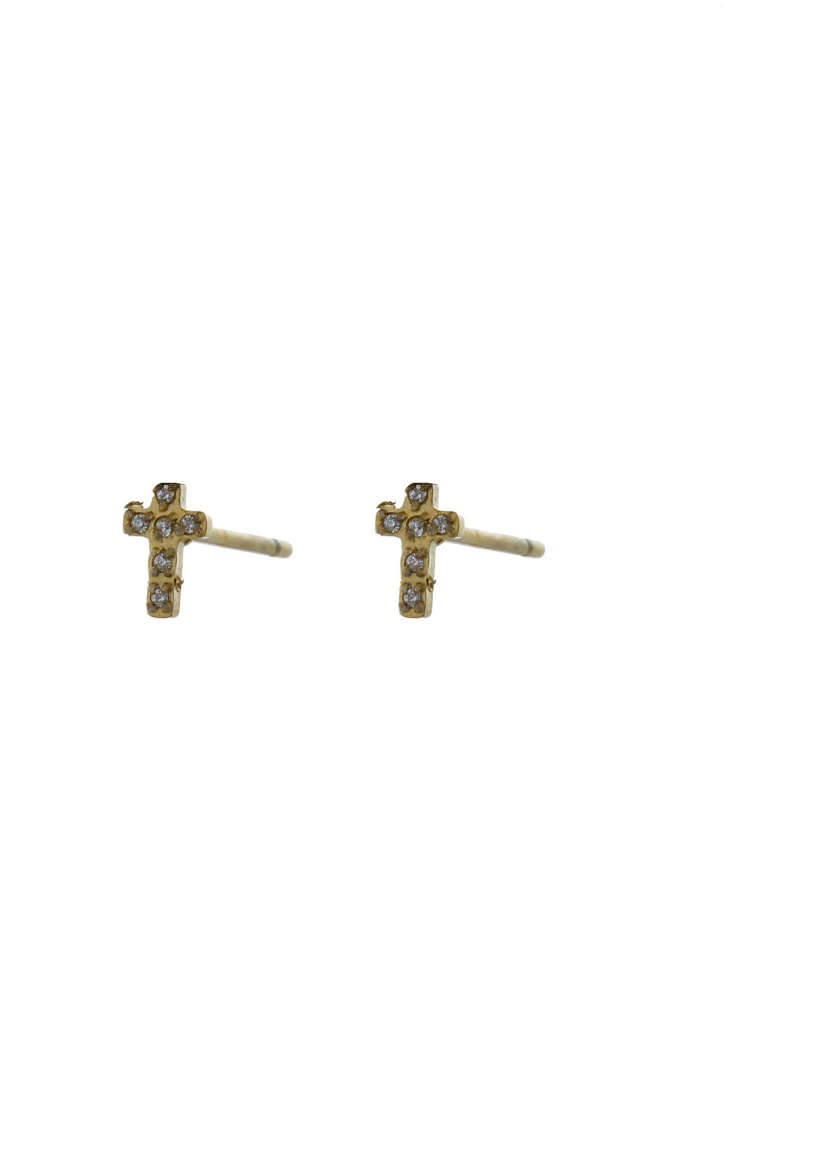 Oorbel goud kruisje met steentjes E0779-2