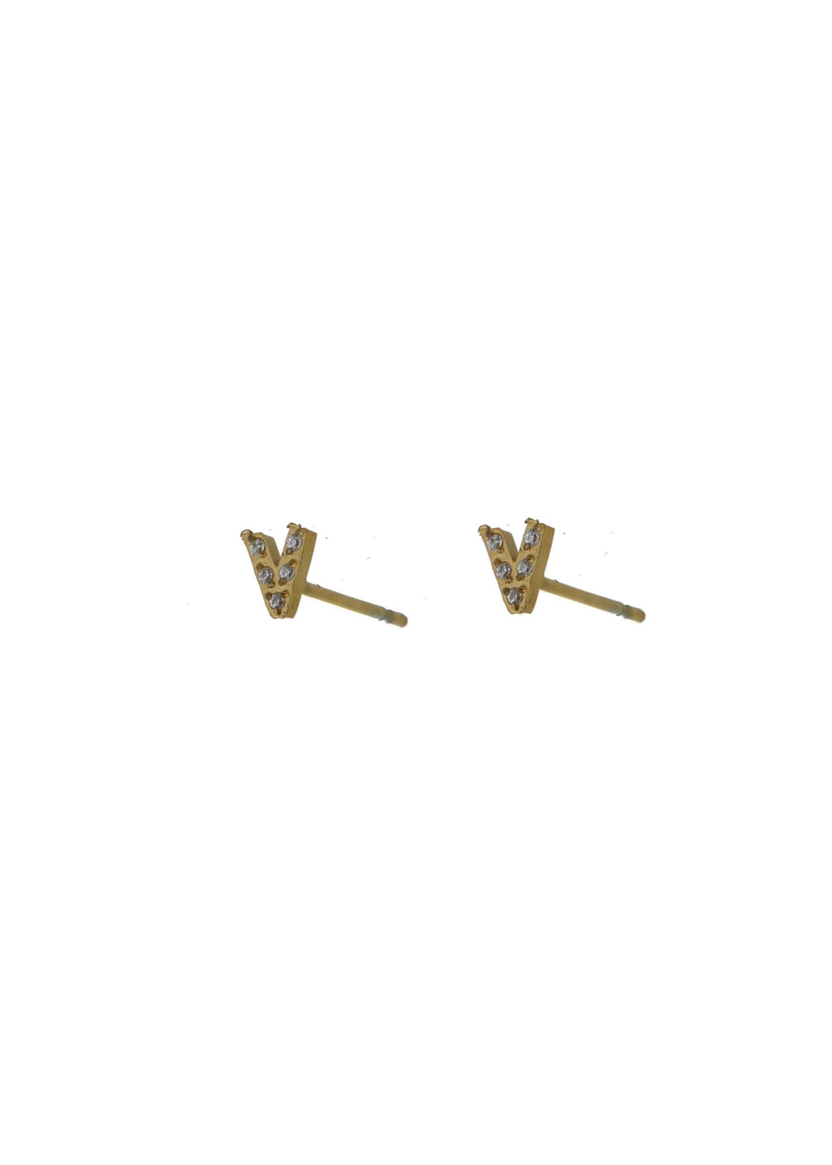 Oorbel goud V met steentjes E0780-2