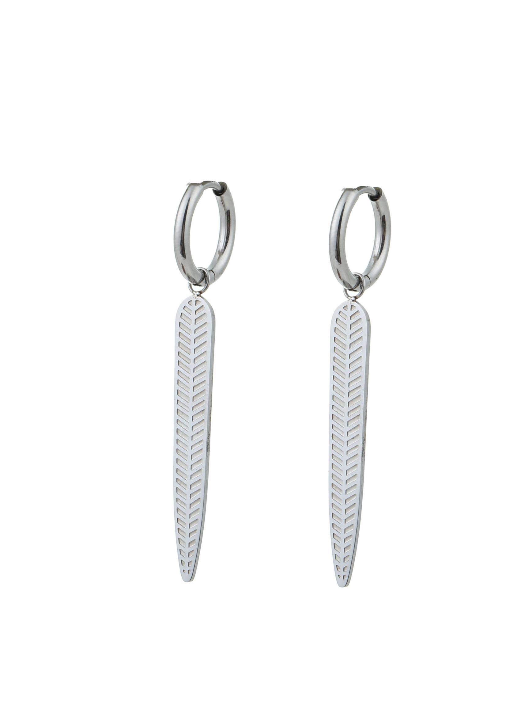 Oorbel zilver veer E0905-1