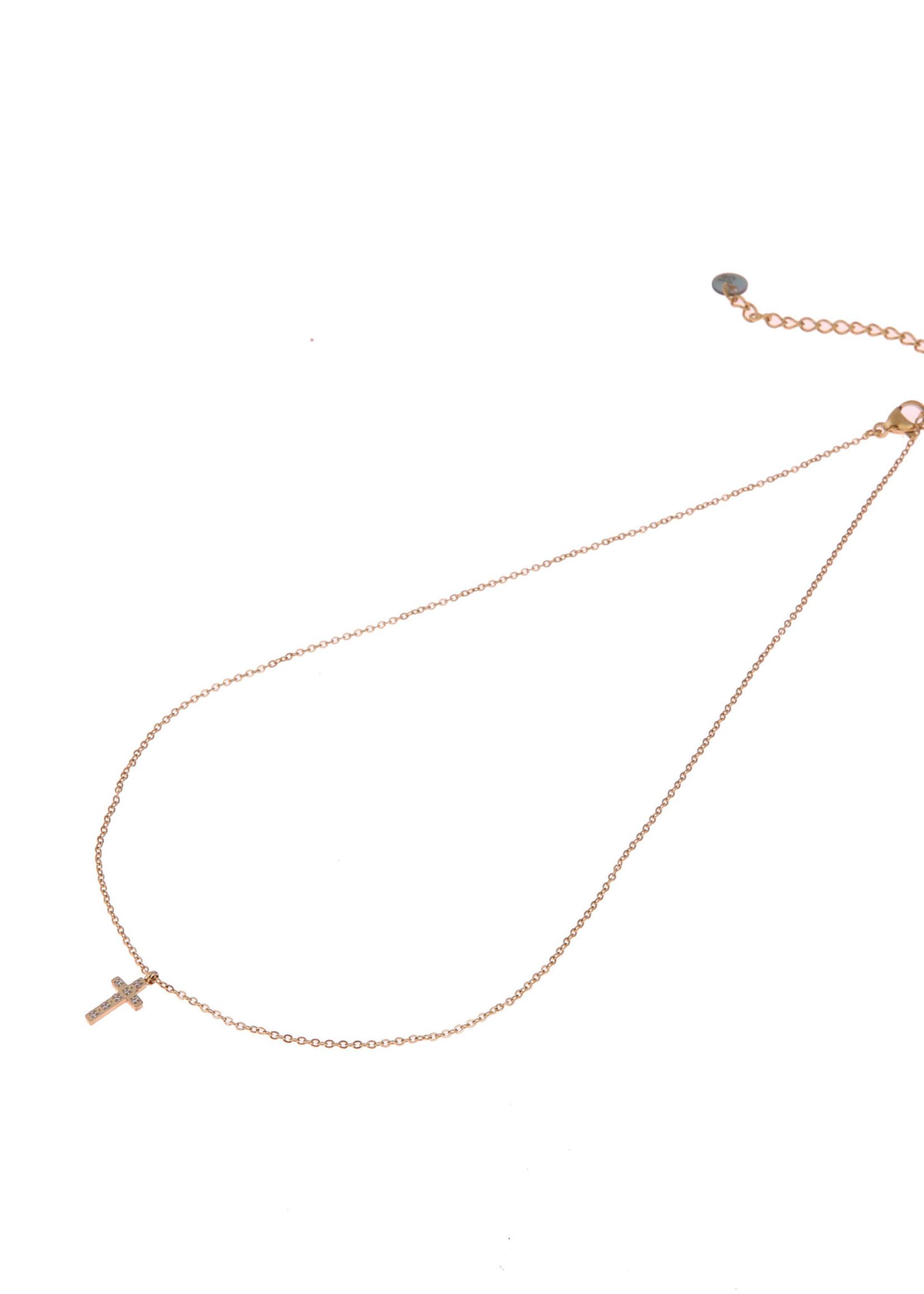 Ketting goud hanger kruisje  N0779-2