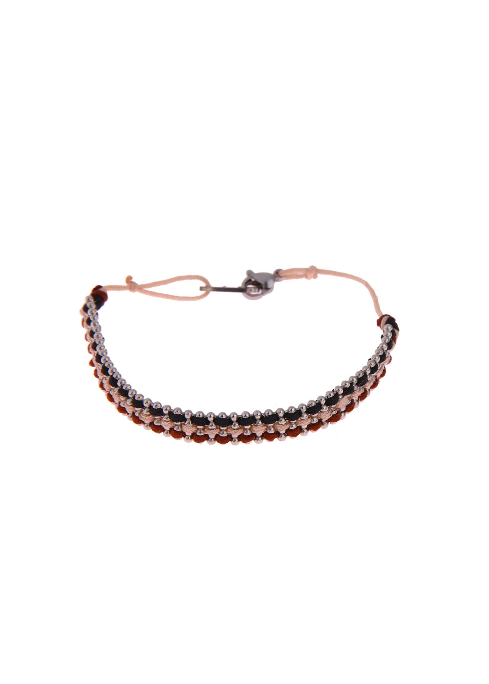 Armband zilver/ blauw/ roze/ rood B0552-4