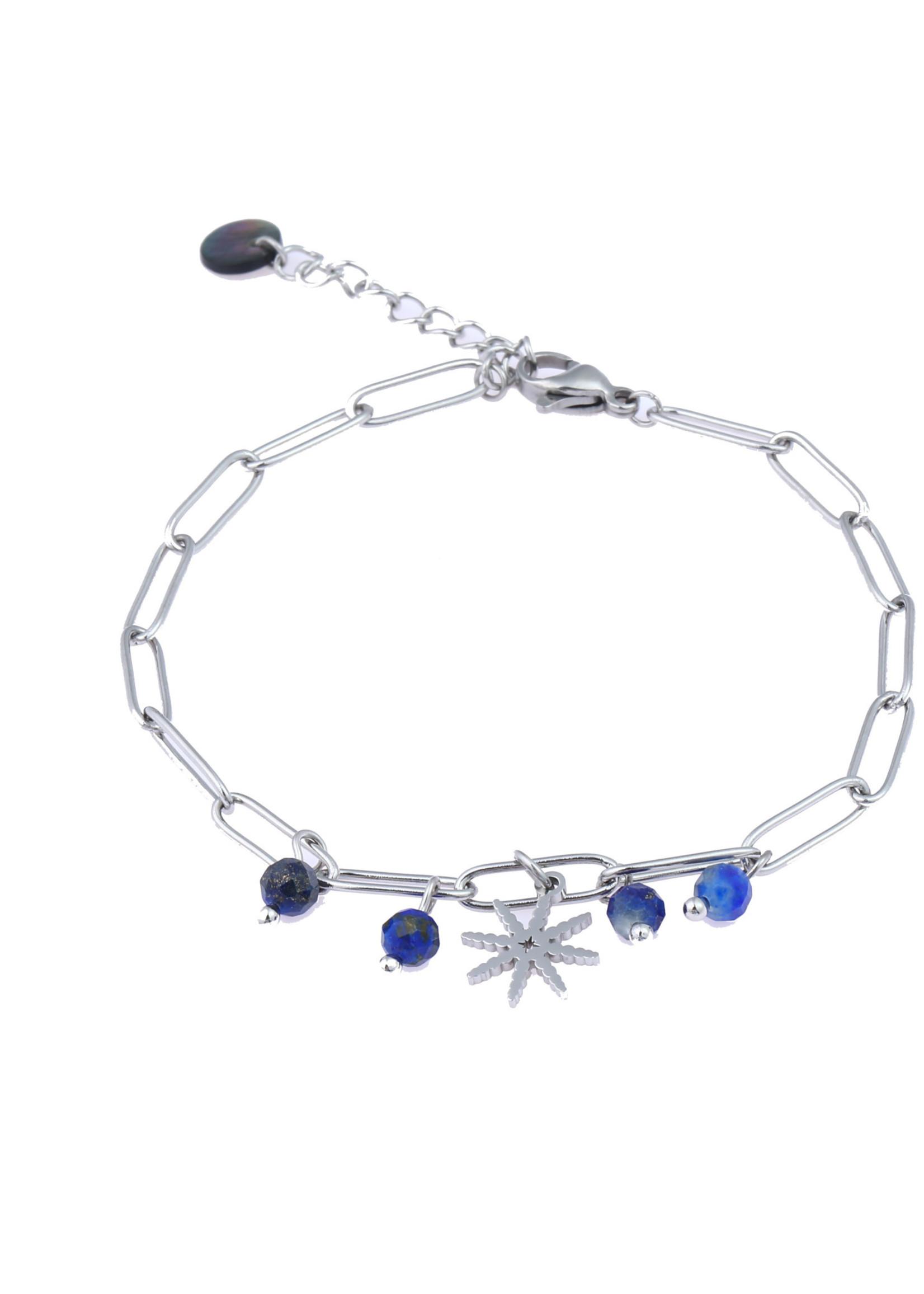 Armband zilver schakel met blauwe steentjes B0825-2