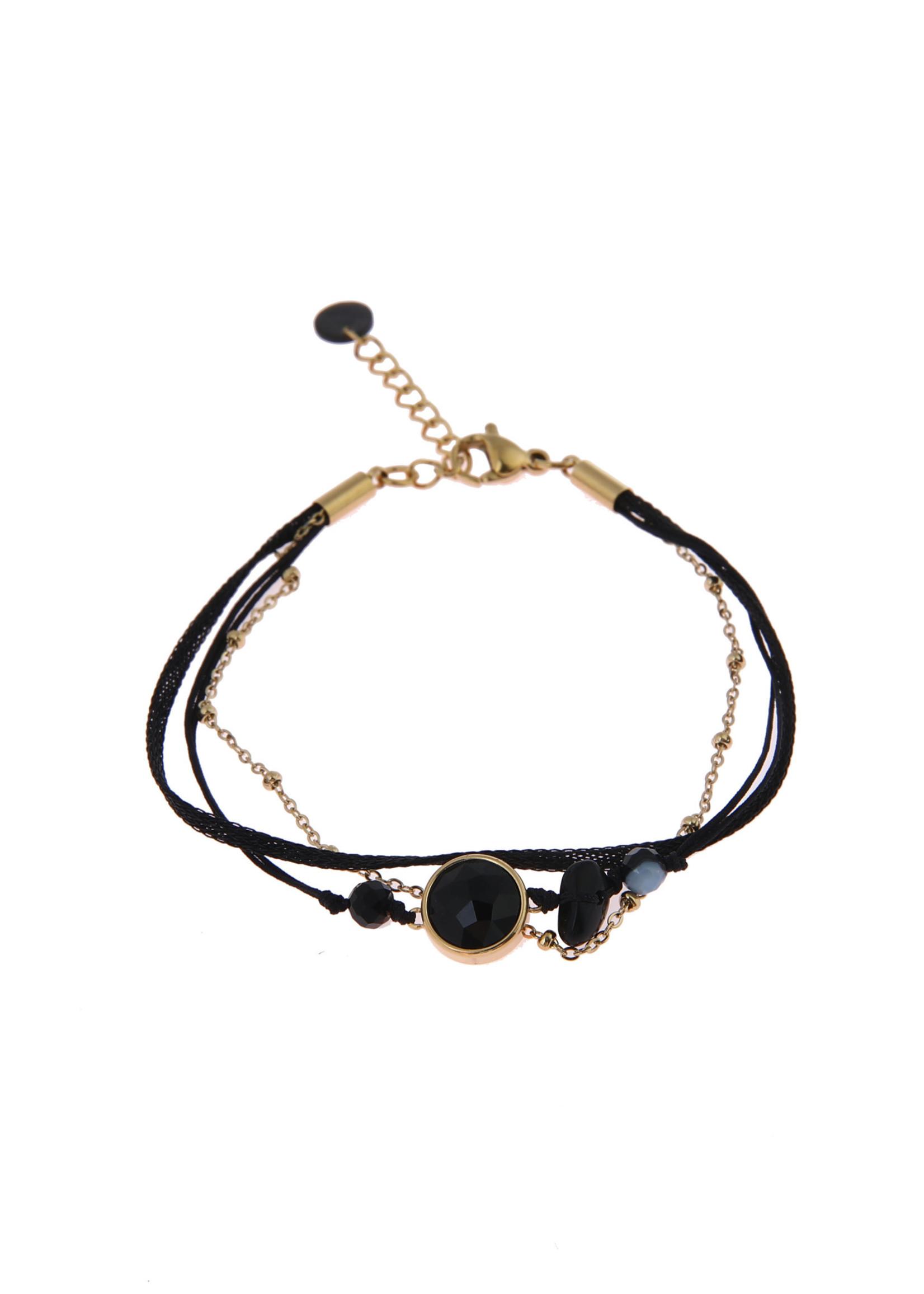 Armband goud/ zwart 3 in 1 B0829-1