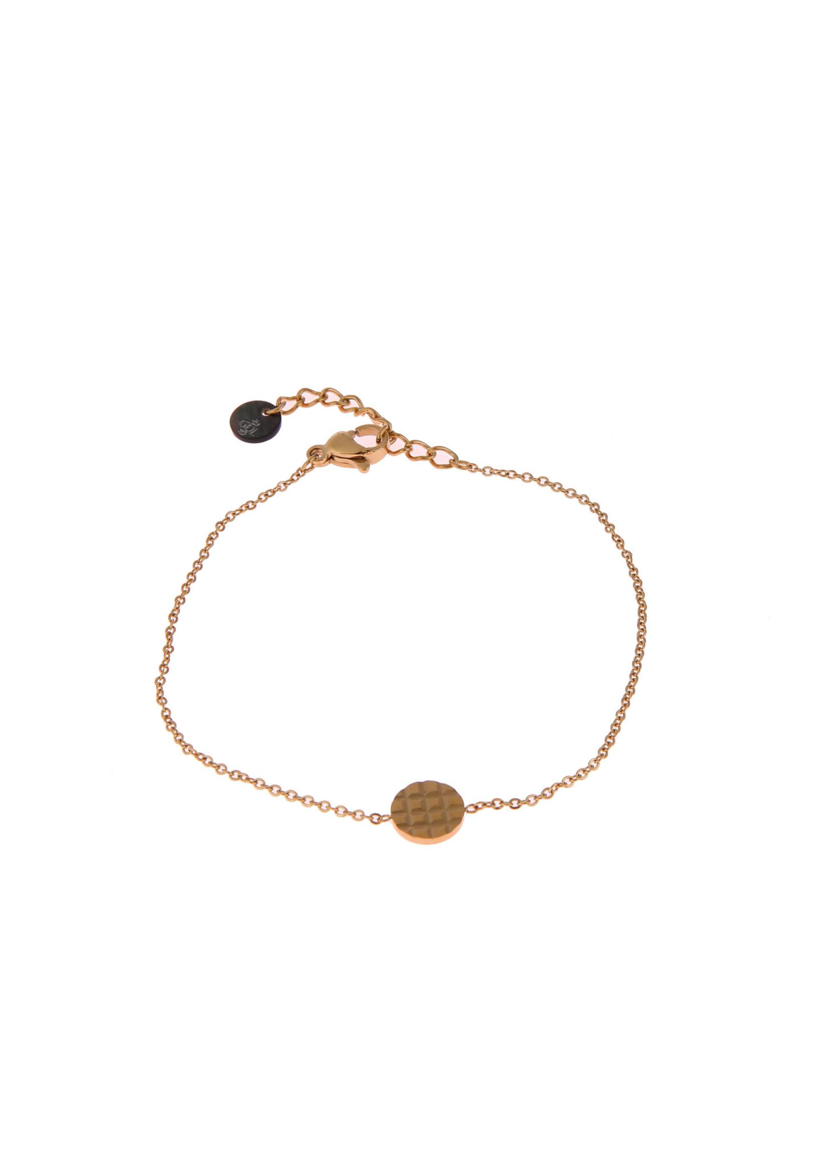 Armband goud rondje met wafelpatroon  B0895-2