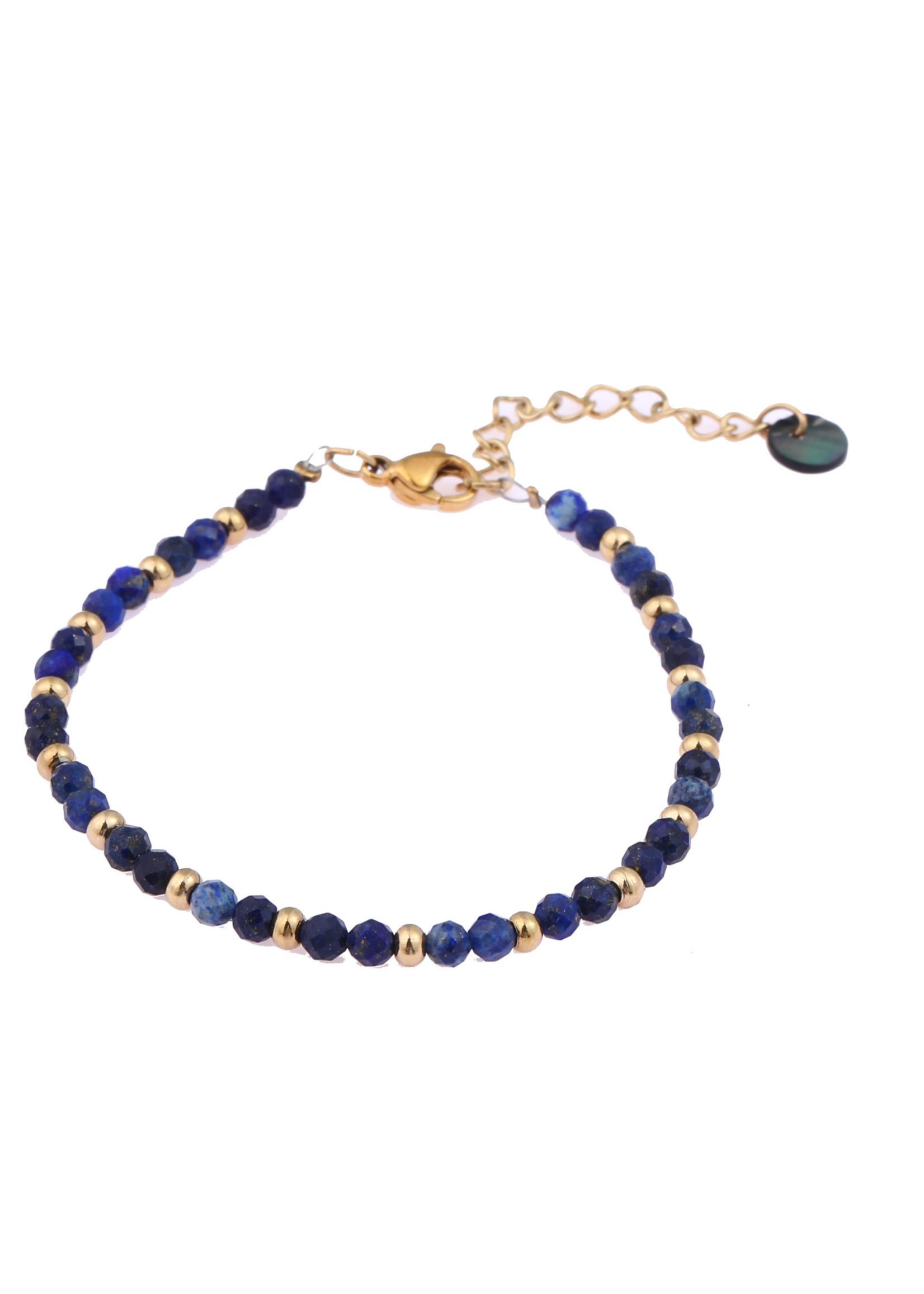 Armband goud met blauwe steentjes  B0906-1