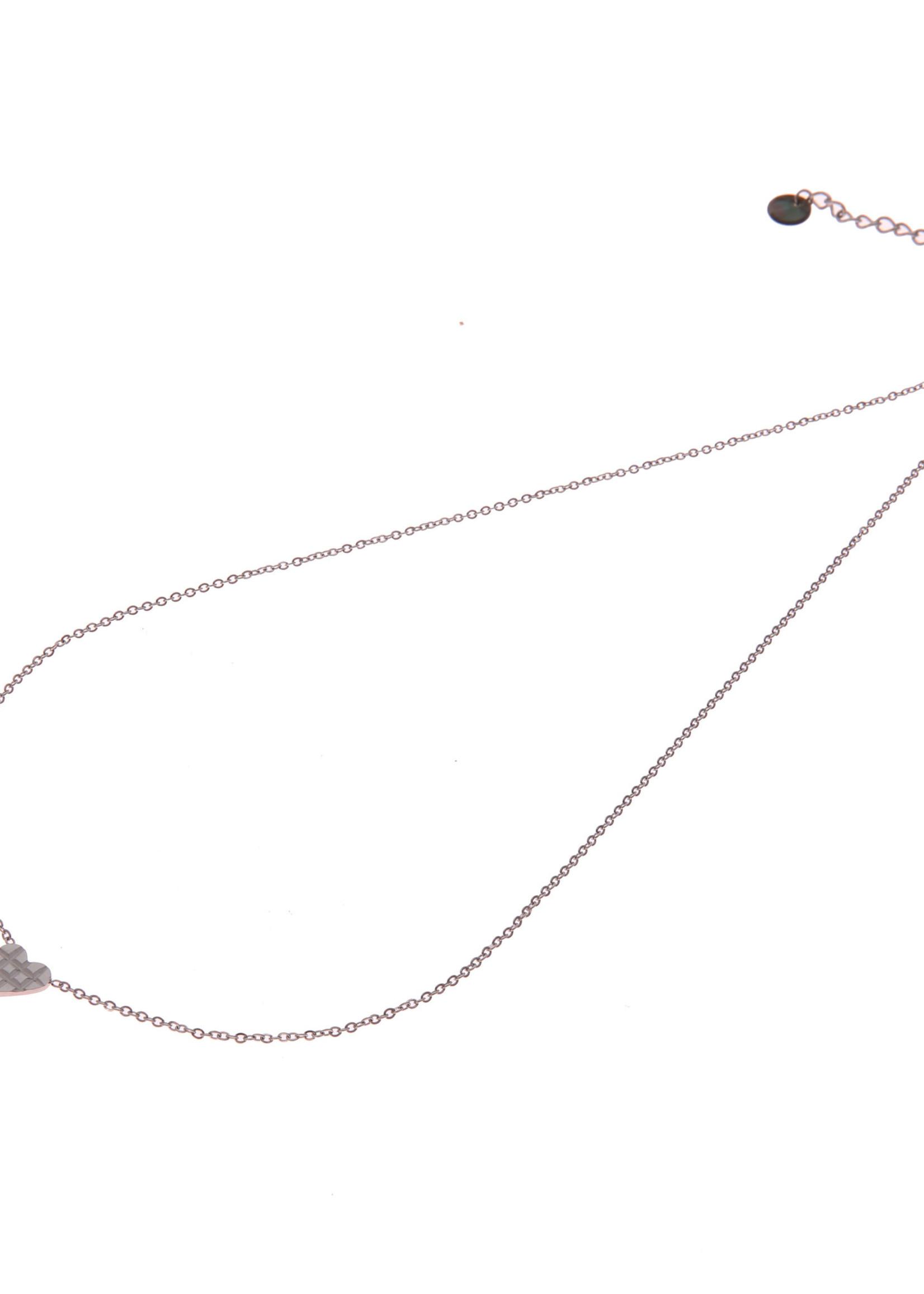 Ketting zilver hartje met wafelpatroon N0893-1