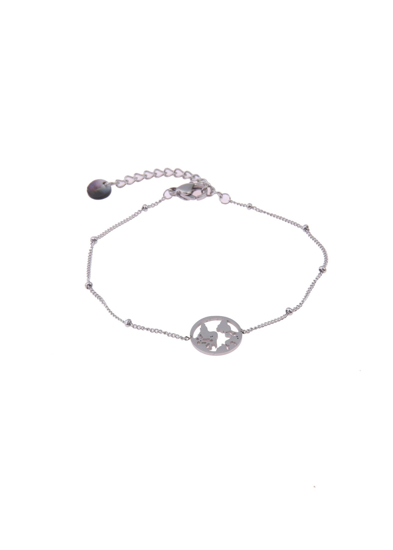 Armband zilver wereldbol B0445-1