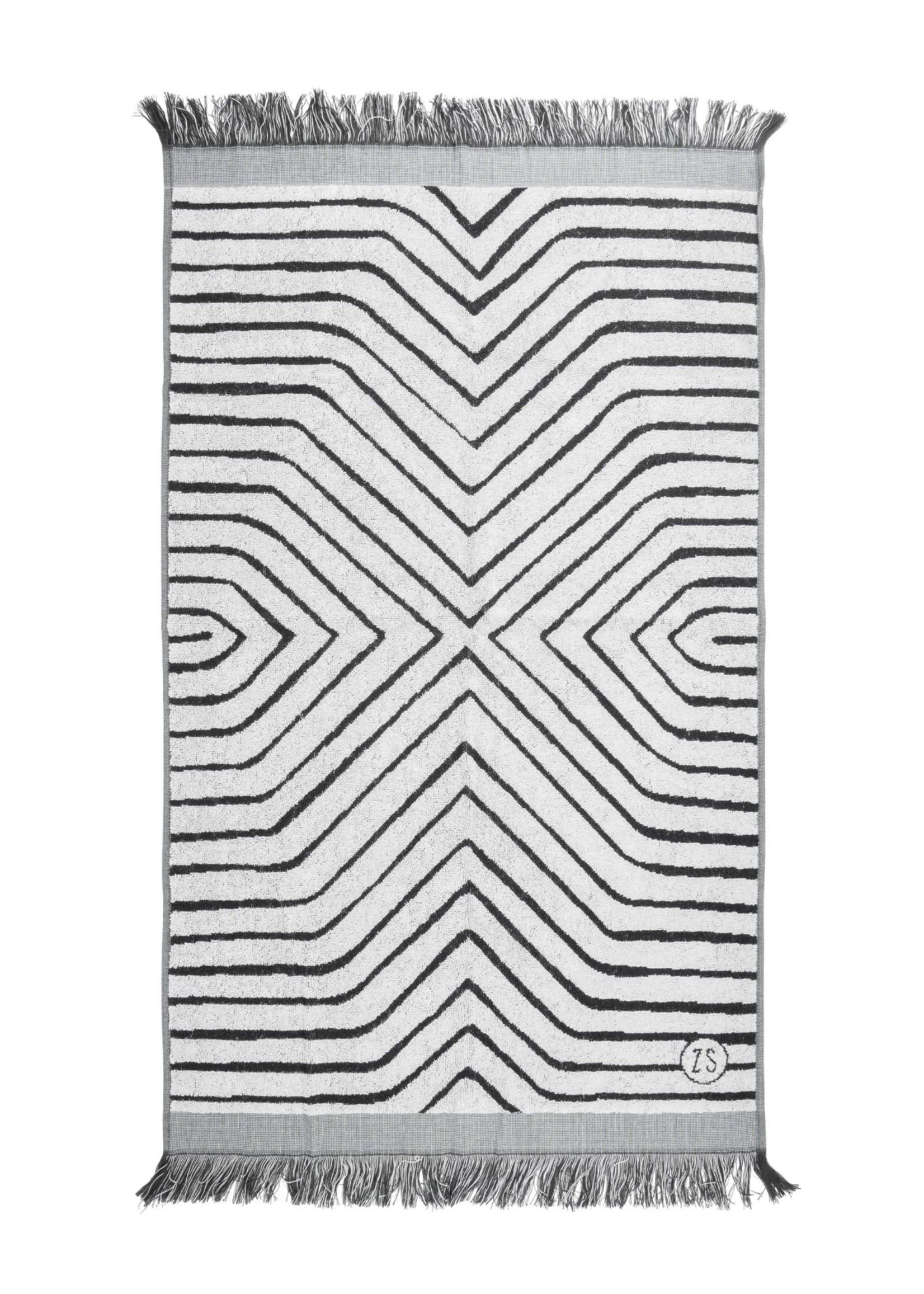ZUSSS badhanddoek grafisch patroon 60x115cm grijs