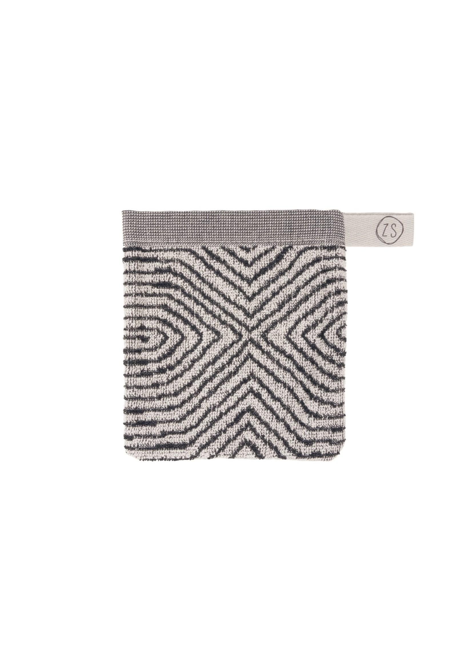 ZUSSS washandje grafisch patroon grijs