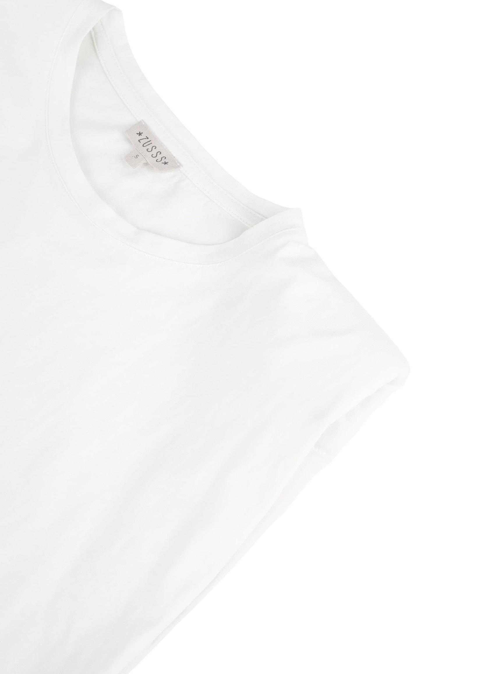 ZUSSS basic top met schoudervulling off white