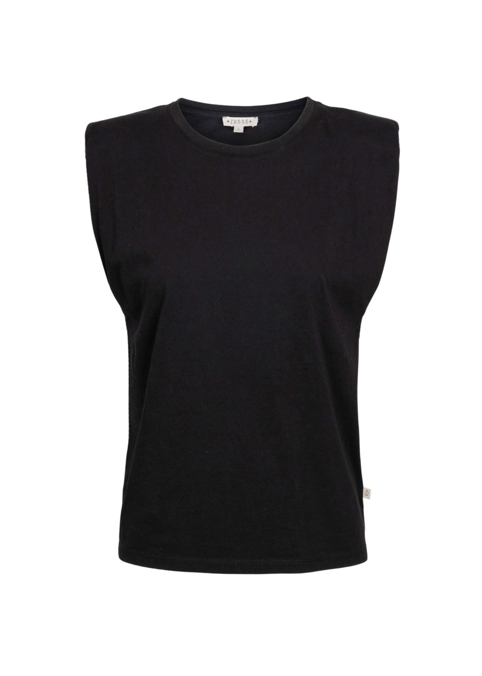 ZUSSS basic top met schoudervulling zwart
