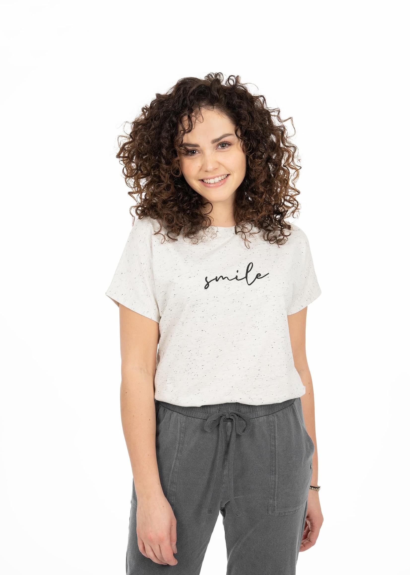 ZUSSS tof basic t-shirt smile zwart melee