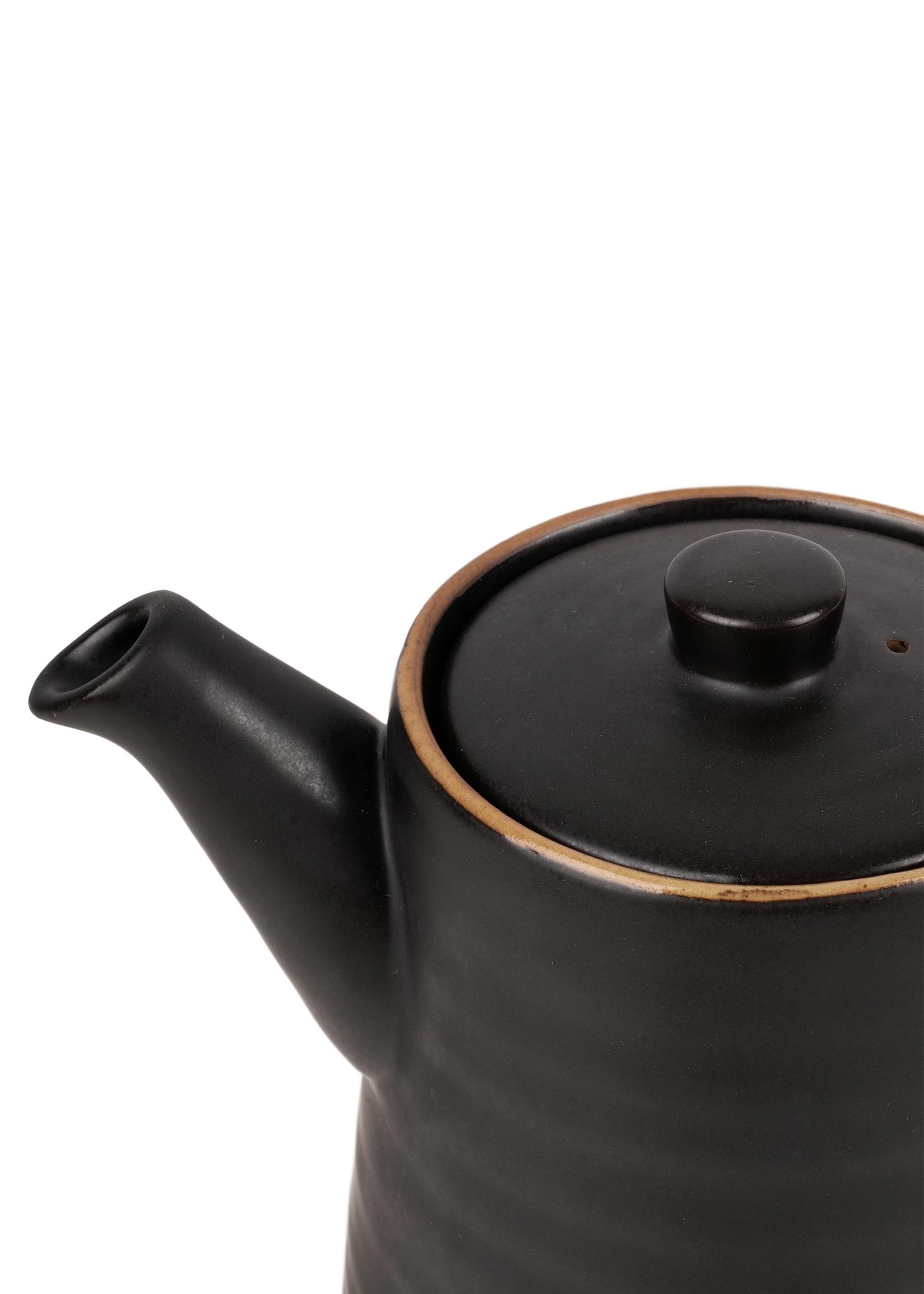 ZUSSS theepot aardewerk 1.25l zwart