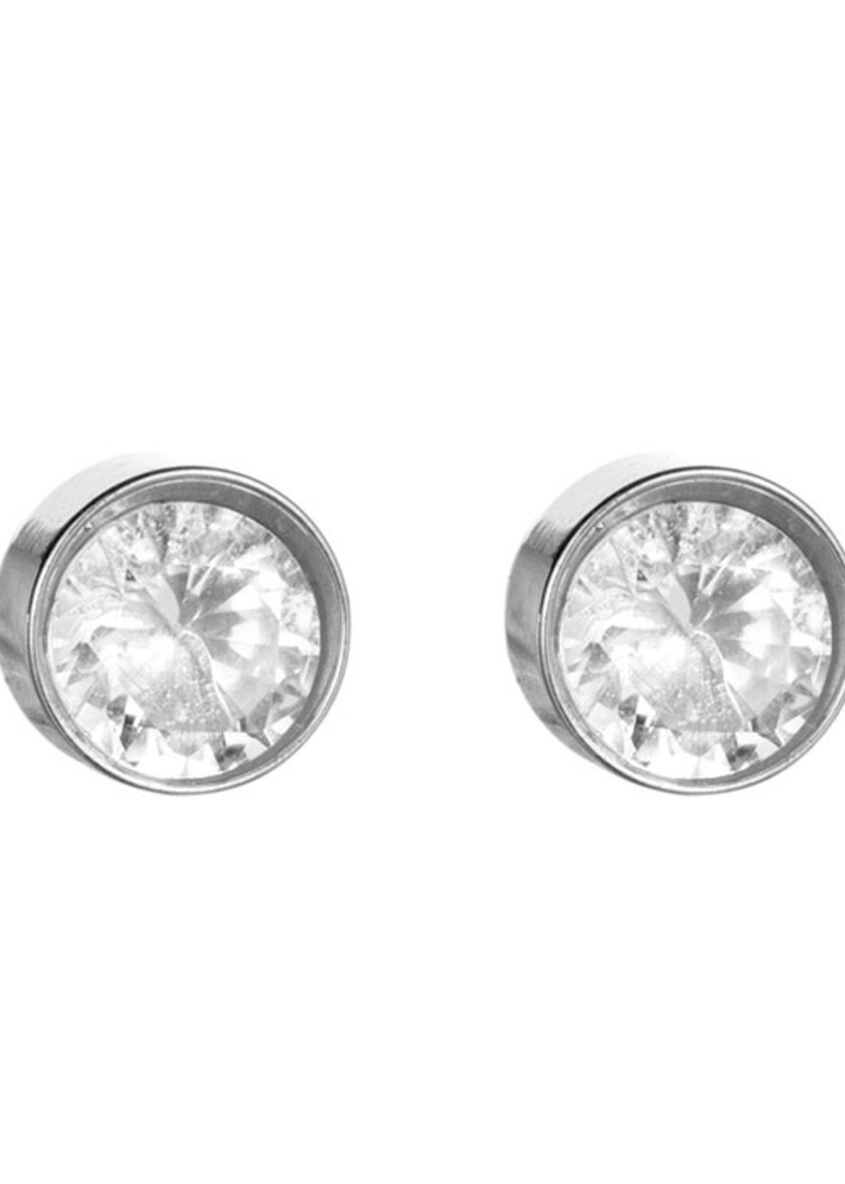 Oorbel zilver met steen E1265-1