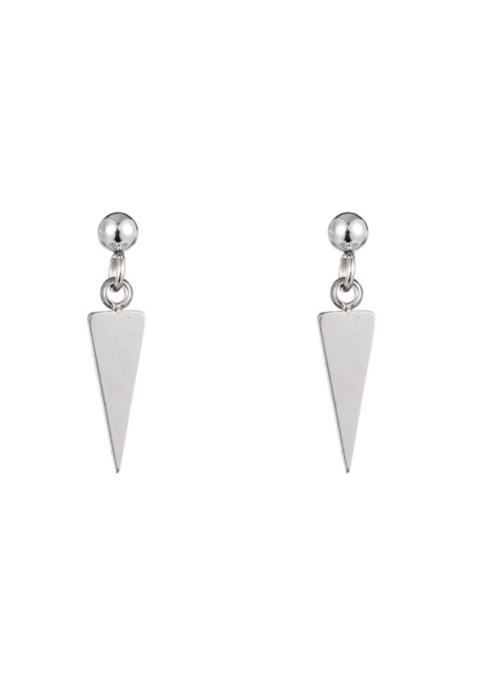 Oorbel zilver hanger driehoek E1288-1