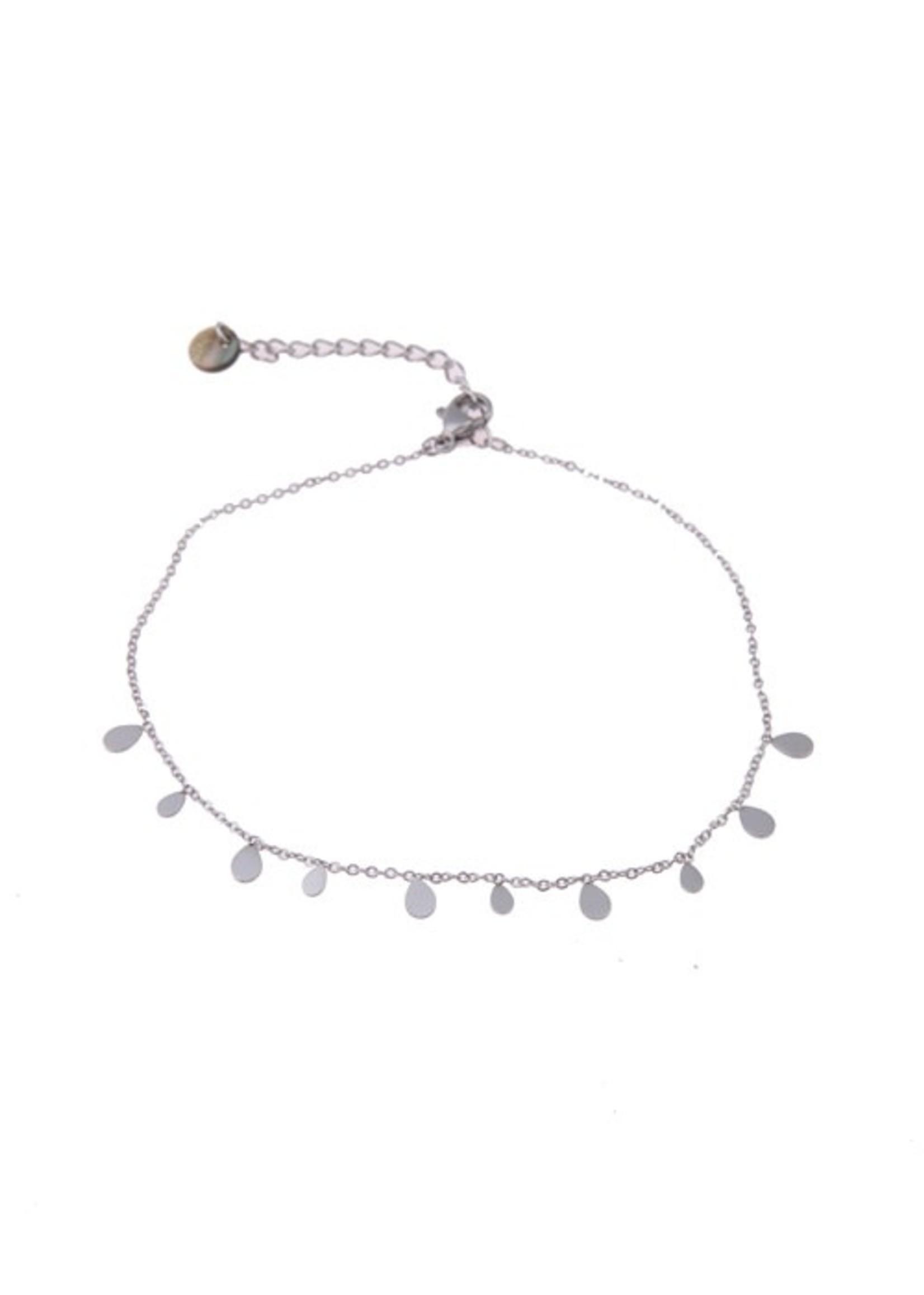 Enkelbandje zilver druppels A0433-1