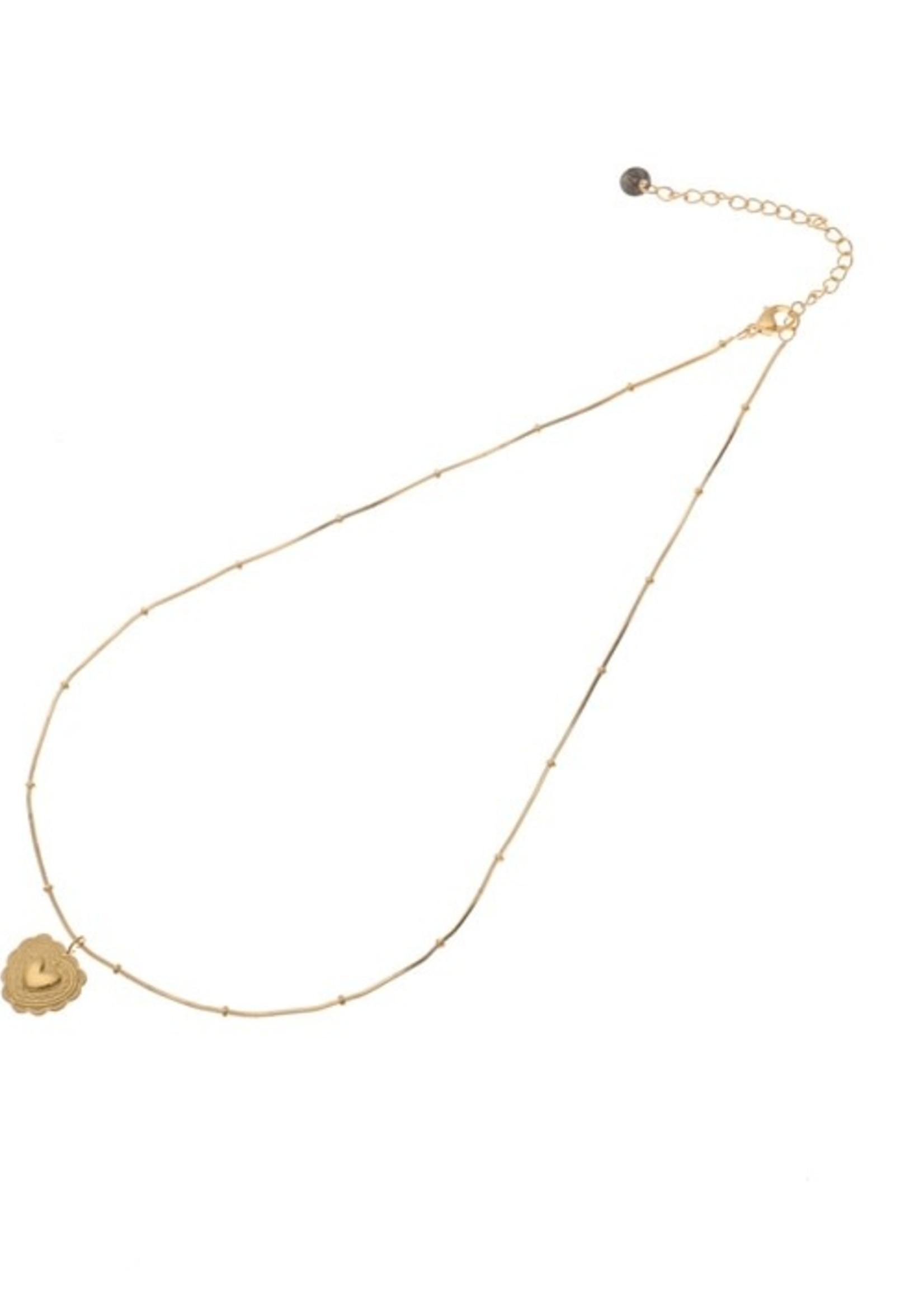 Ketting goud met hanger hartje  N9893-2