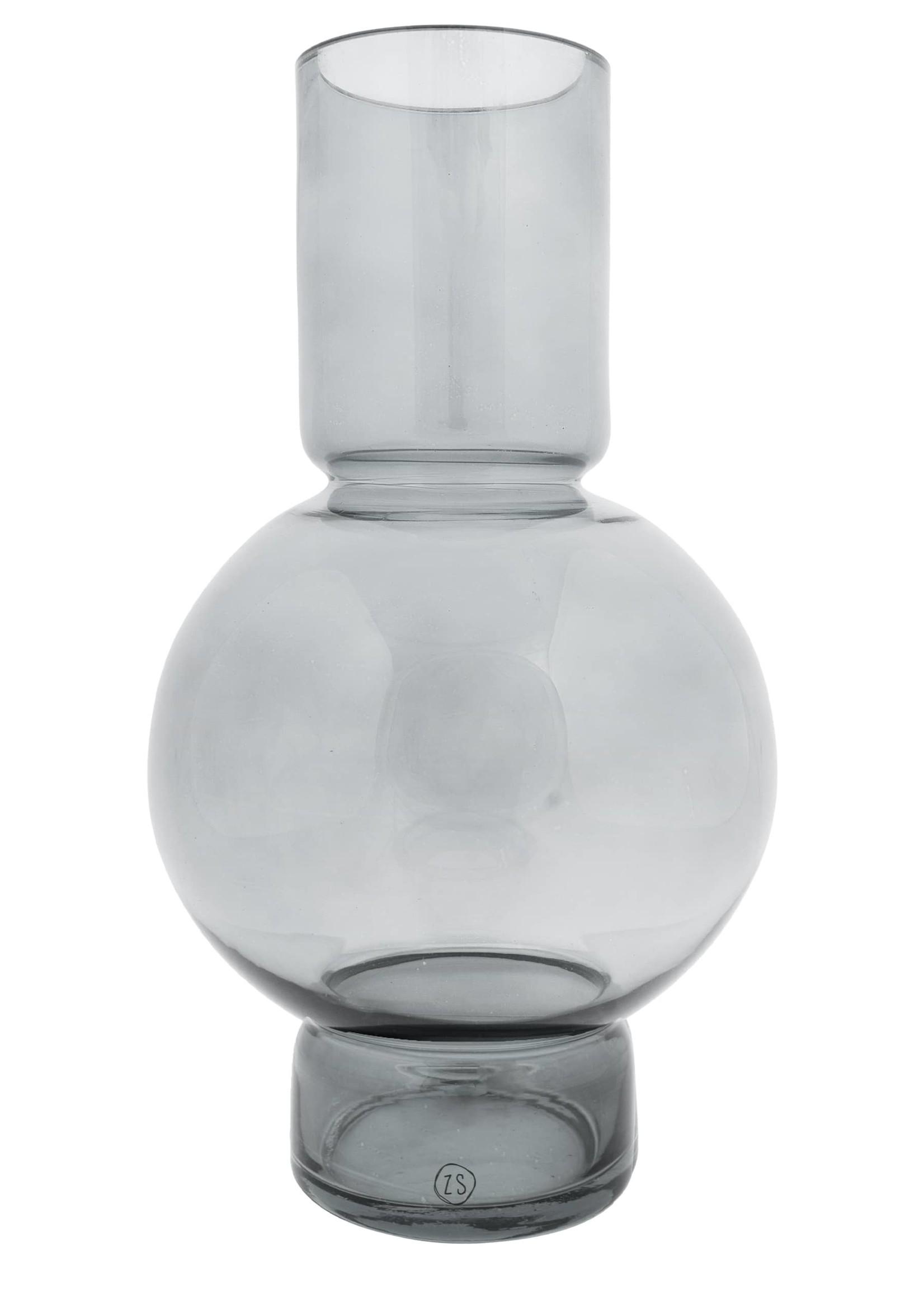 ZUSSS glazen bolvaas 17x30cm grafietgrijs