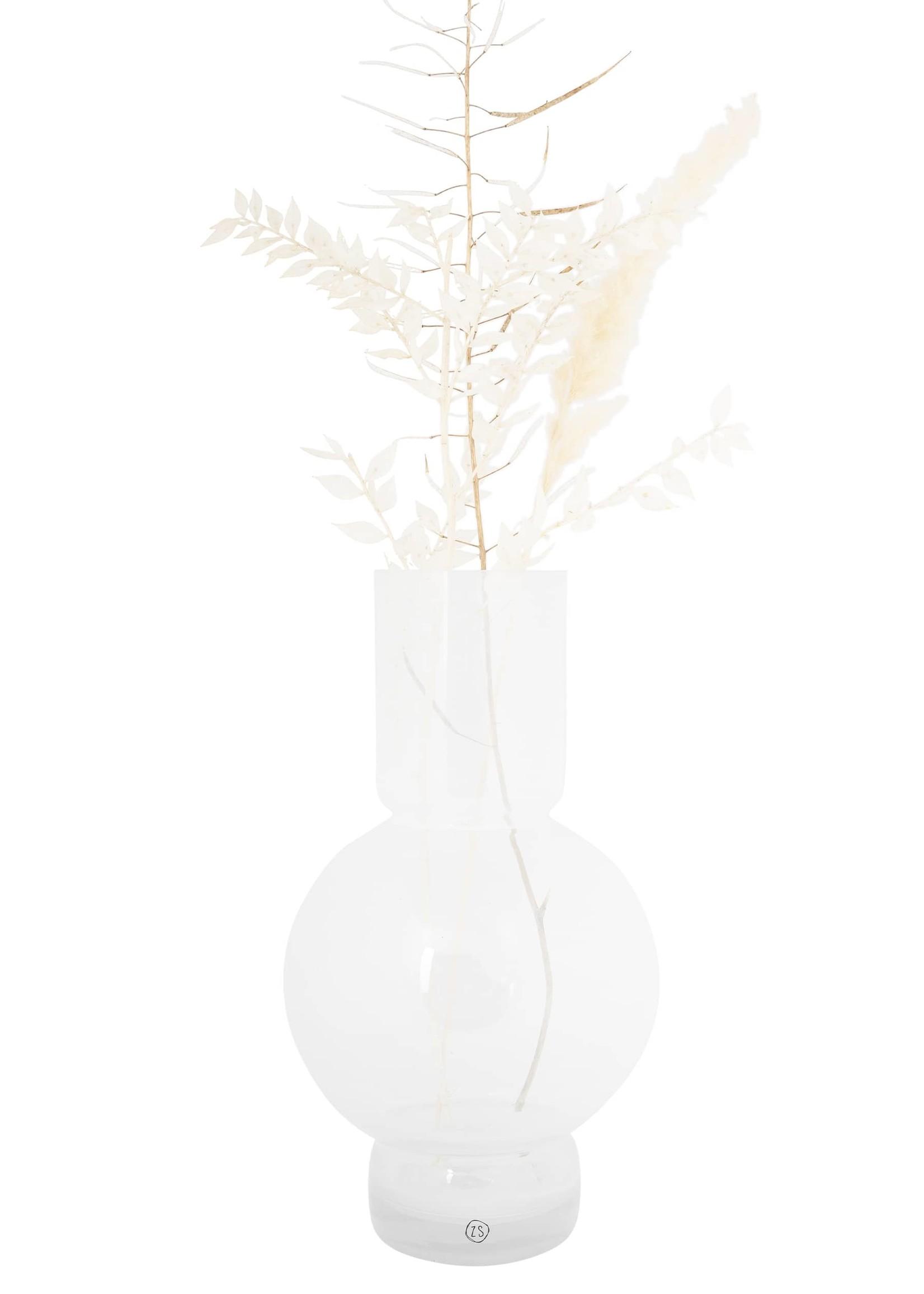 ZUSSS glazen bolvaas 17x30cm wit