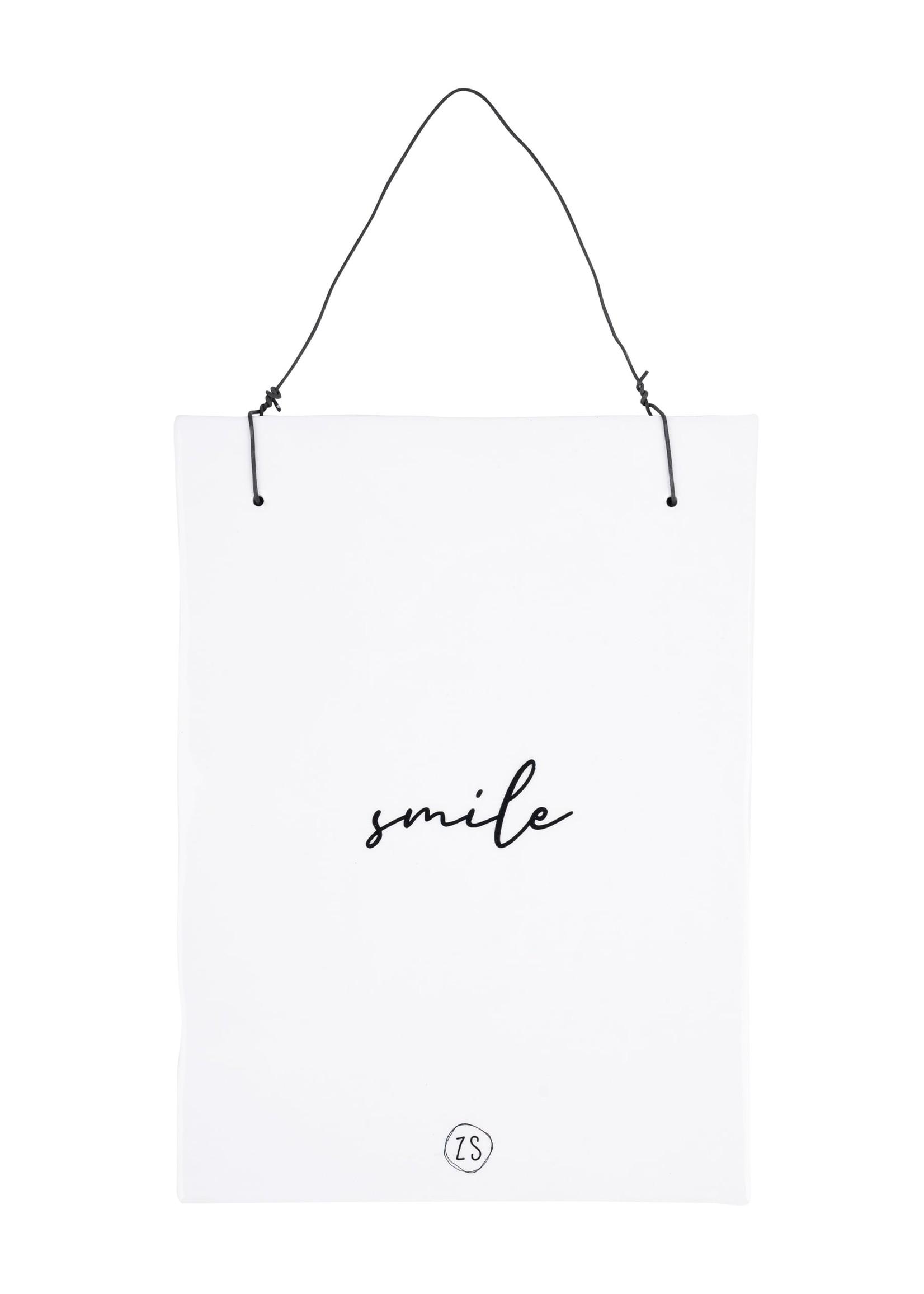 ZUSSS teksttegeltje smile wit