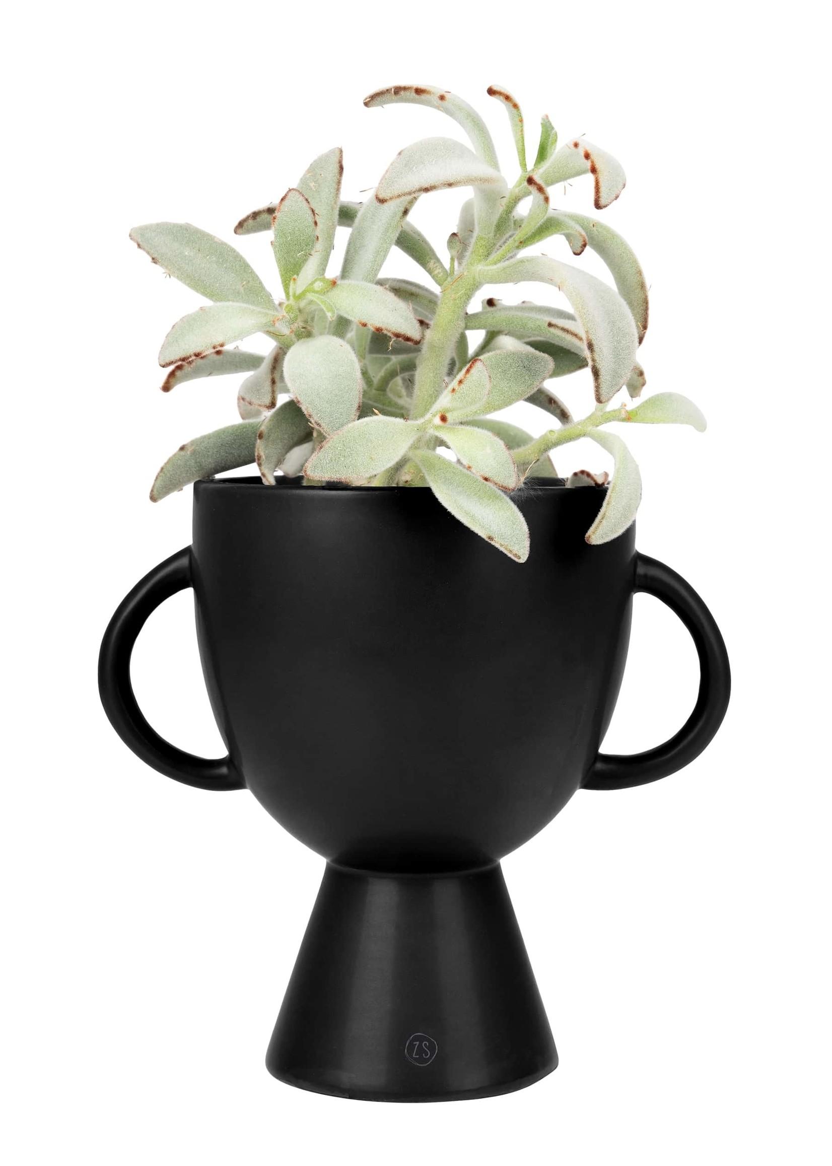 ZUSSS bloempot met handvatten keramiek ø15x20cm zwart