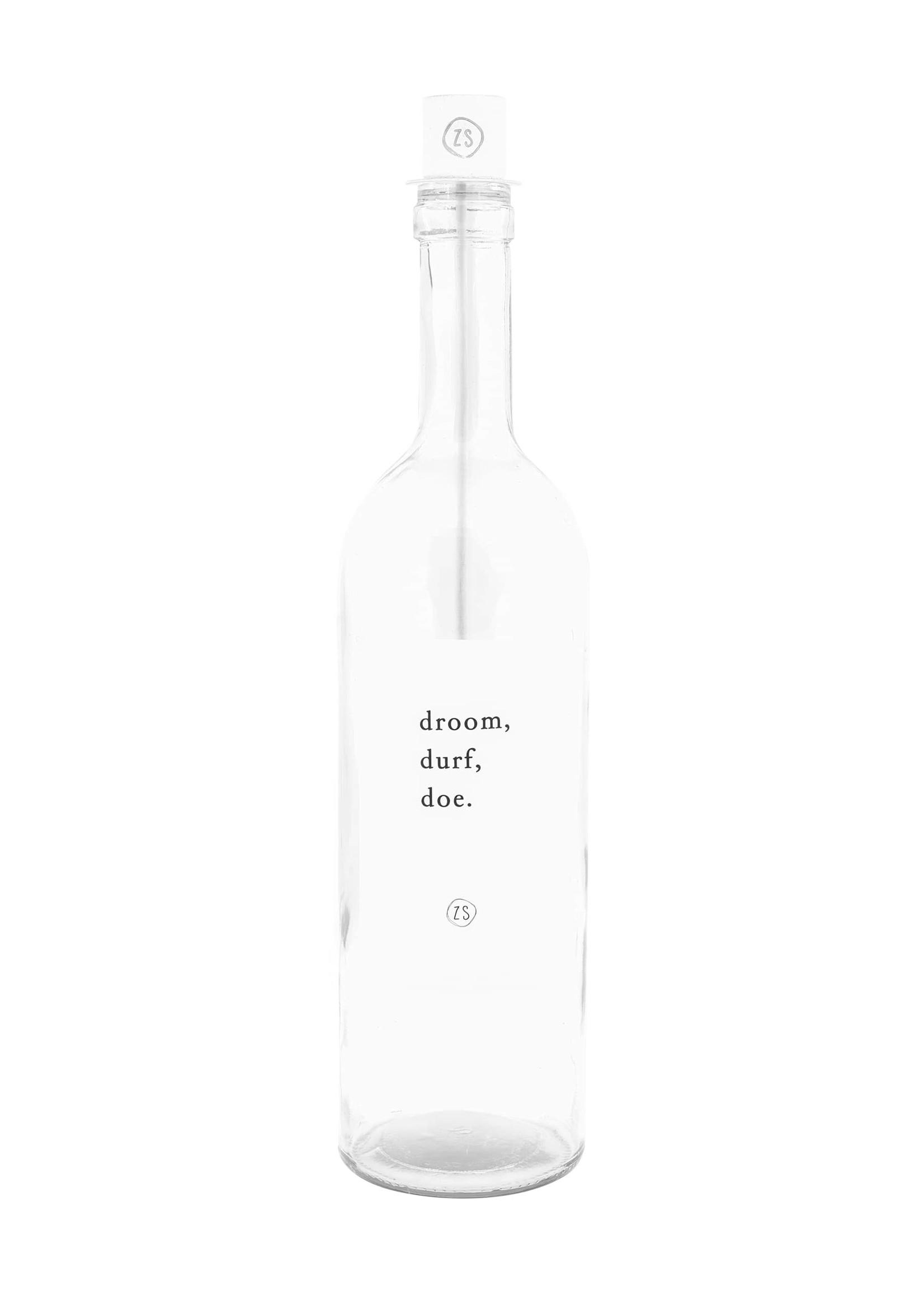 ZUSSS kaarsenhouder in fles wit