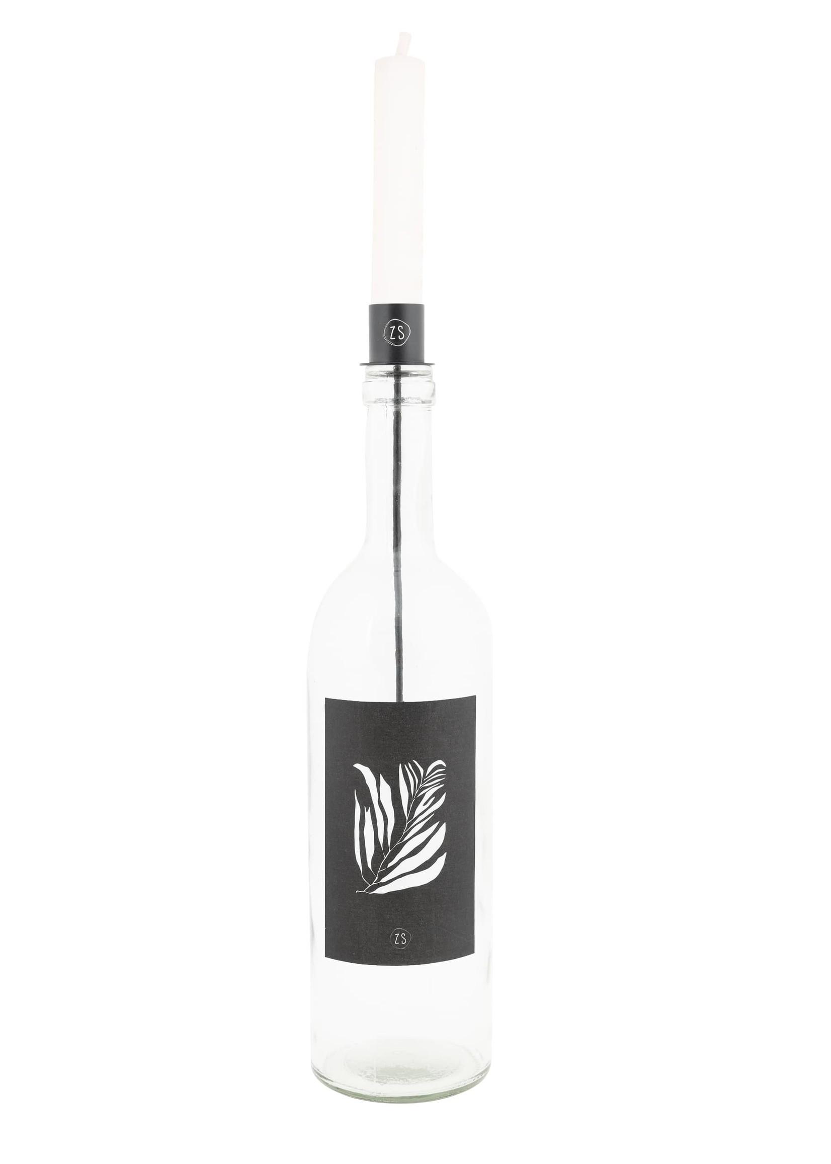 ZUSSS kaarsenhouder in fles zwart