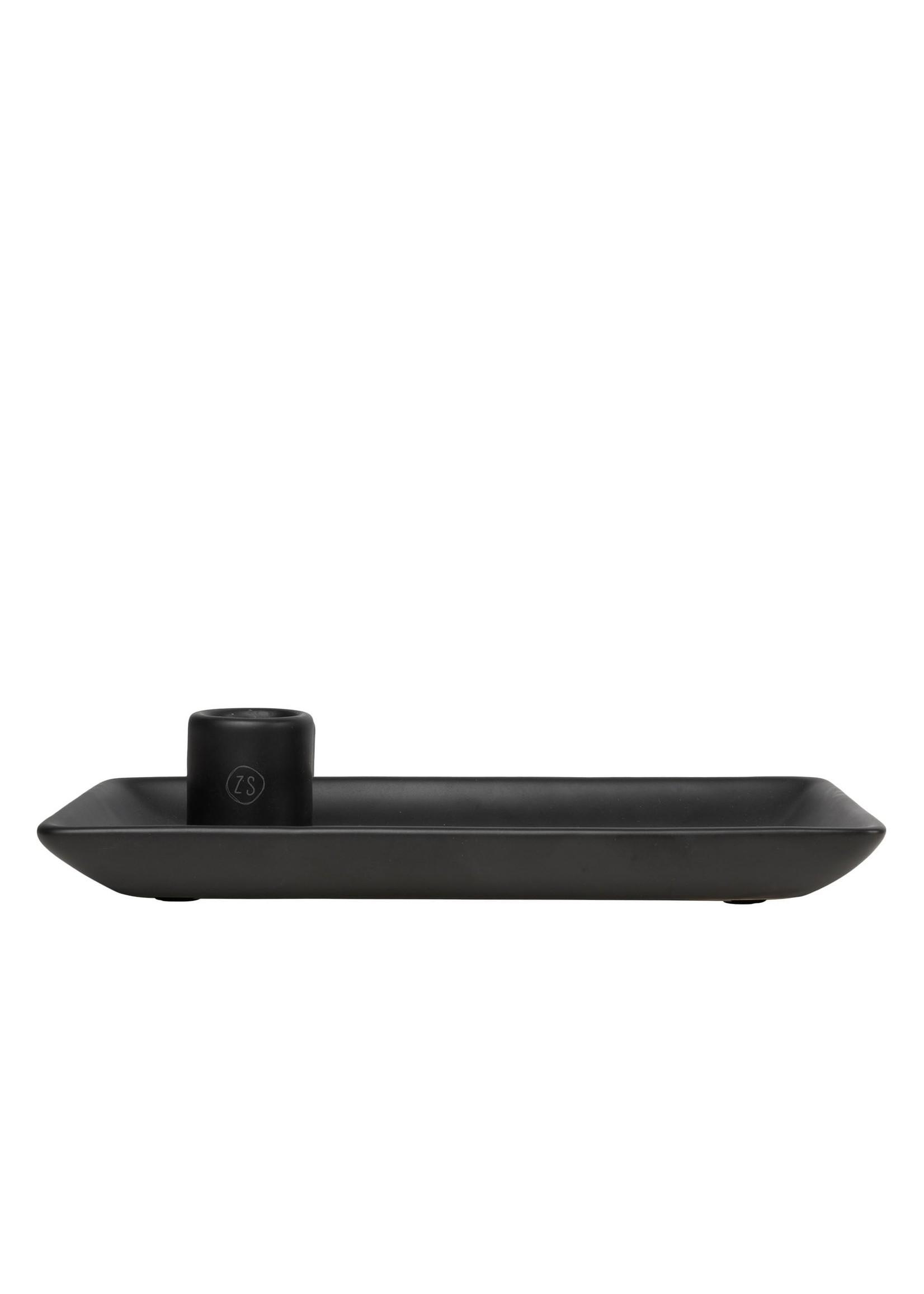 ZUSSS kandelaar met blad keramiek zwart