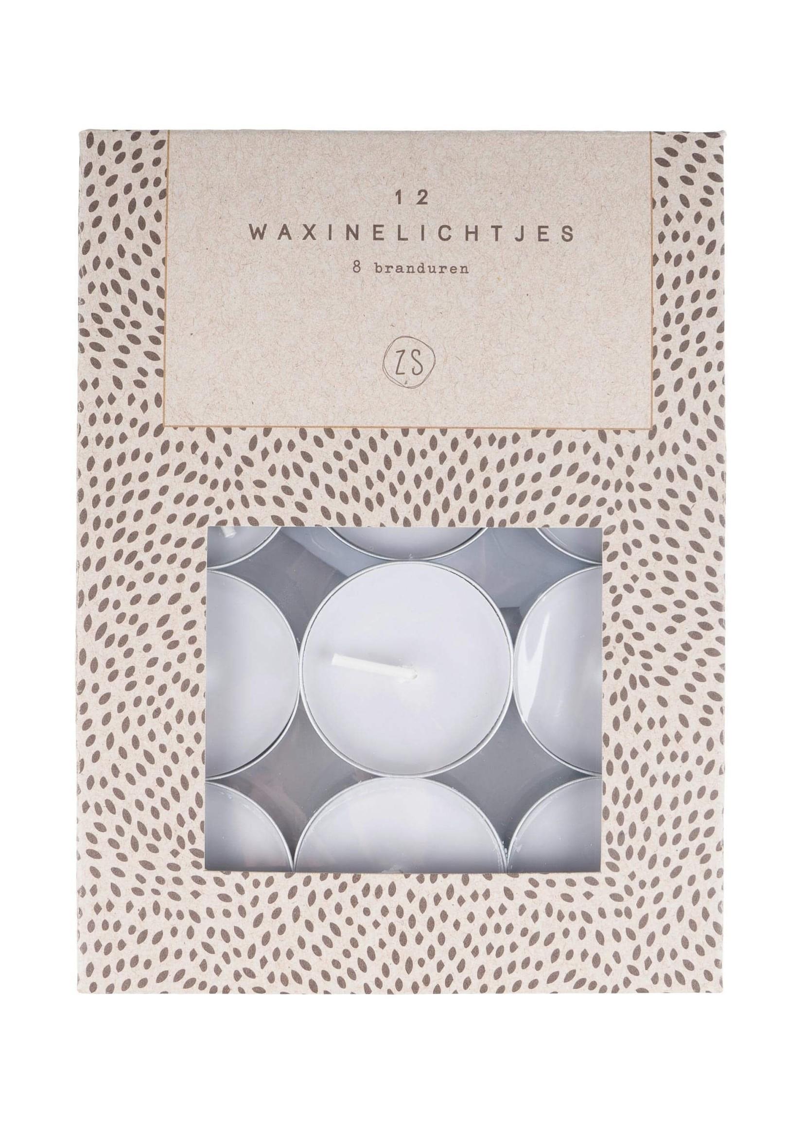 ZUSSS set van 12 waxinelichtjes grijs
