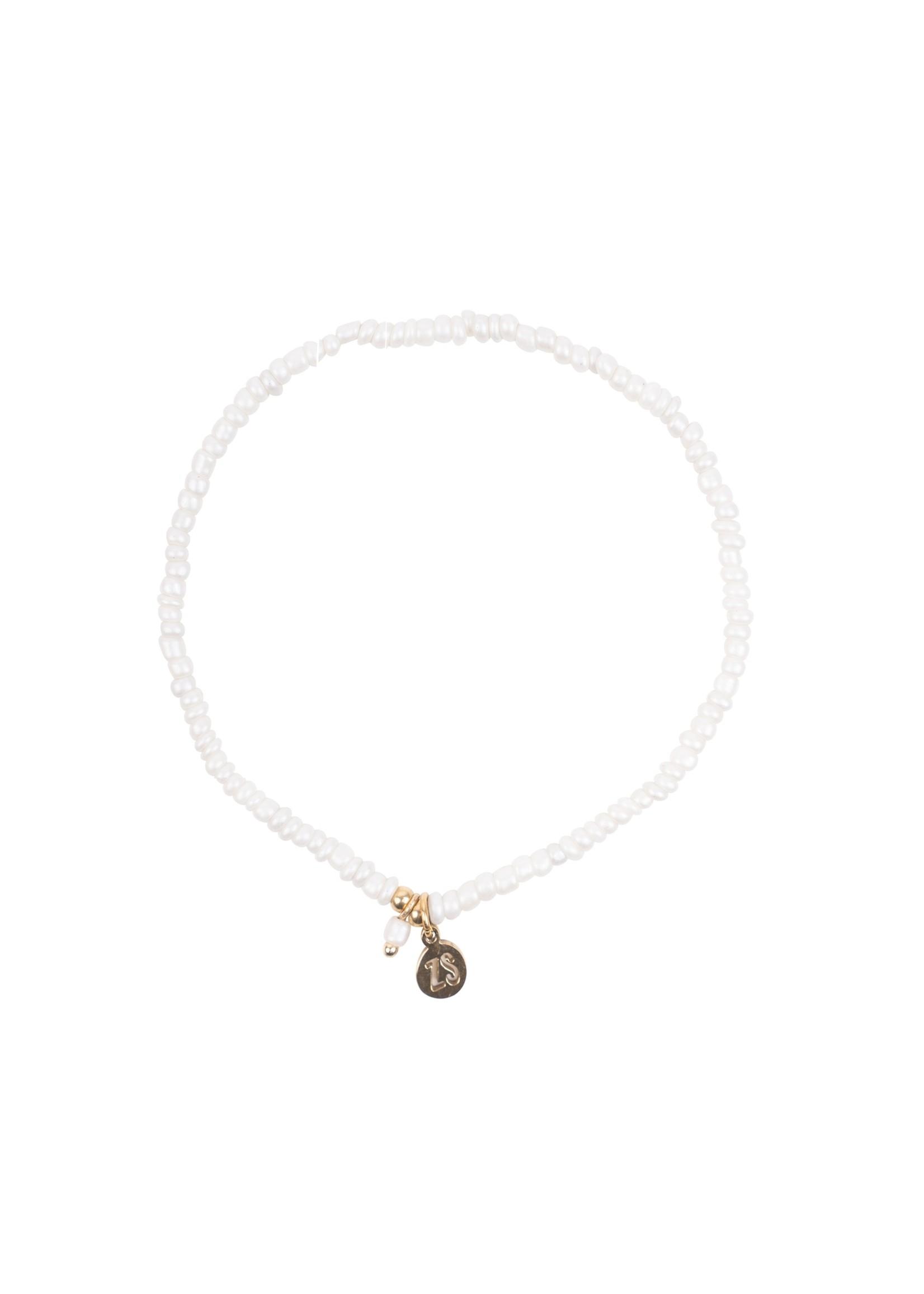 ZUSSS fijn kralenarmbandje wit/goud